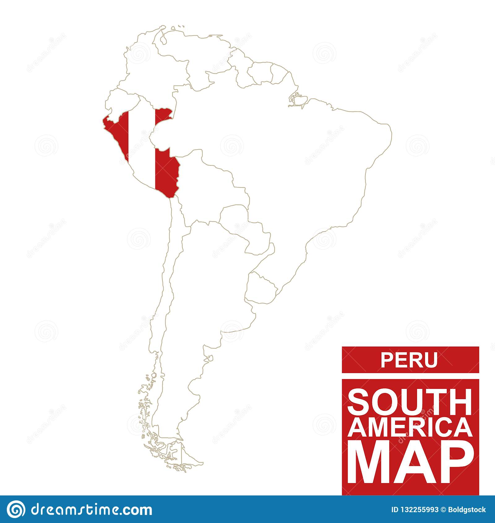 Peru Karte Südamerika.Südamerika Höhenlinienkarte Mit Hervorgehobenem Peru Vektor