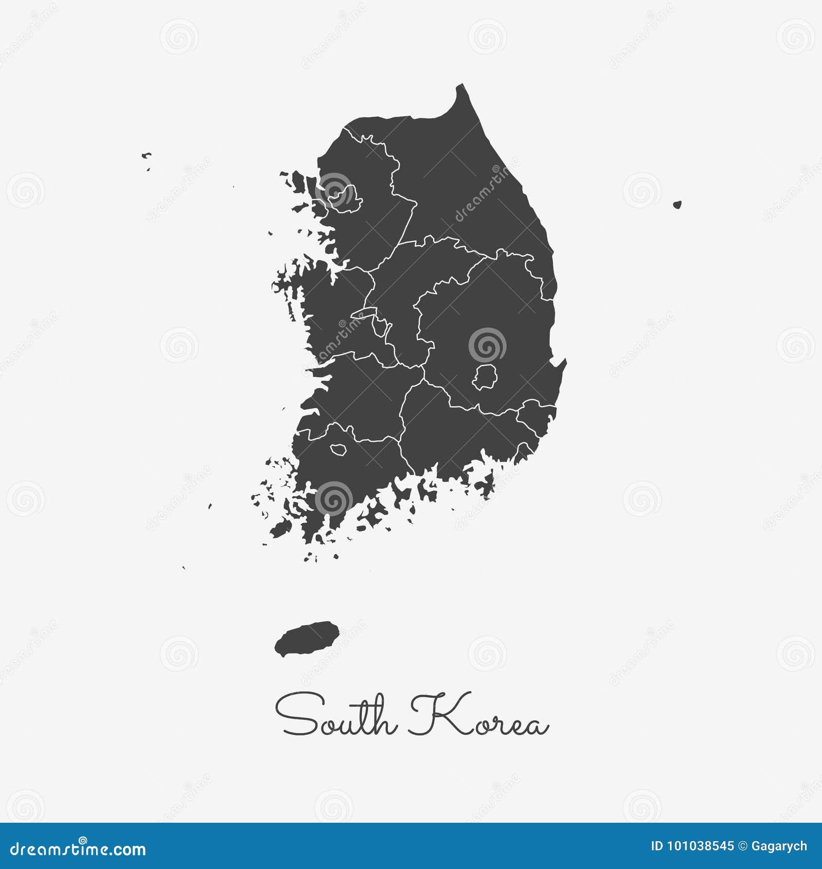Südkorea-Regionskarte: grauer Entwurf auf Weiß