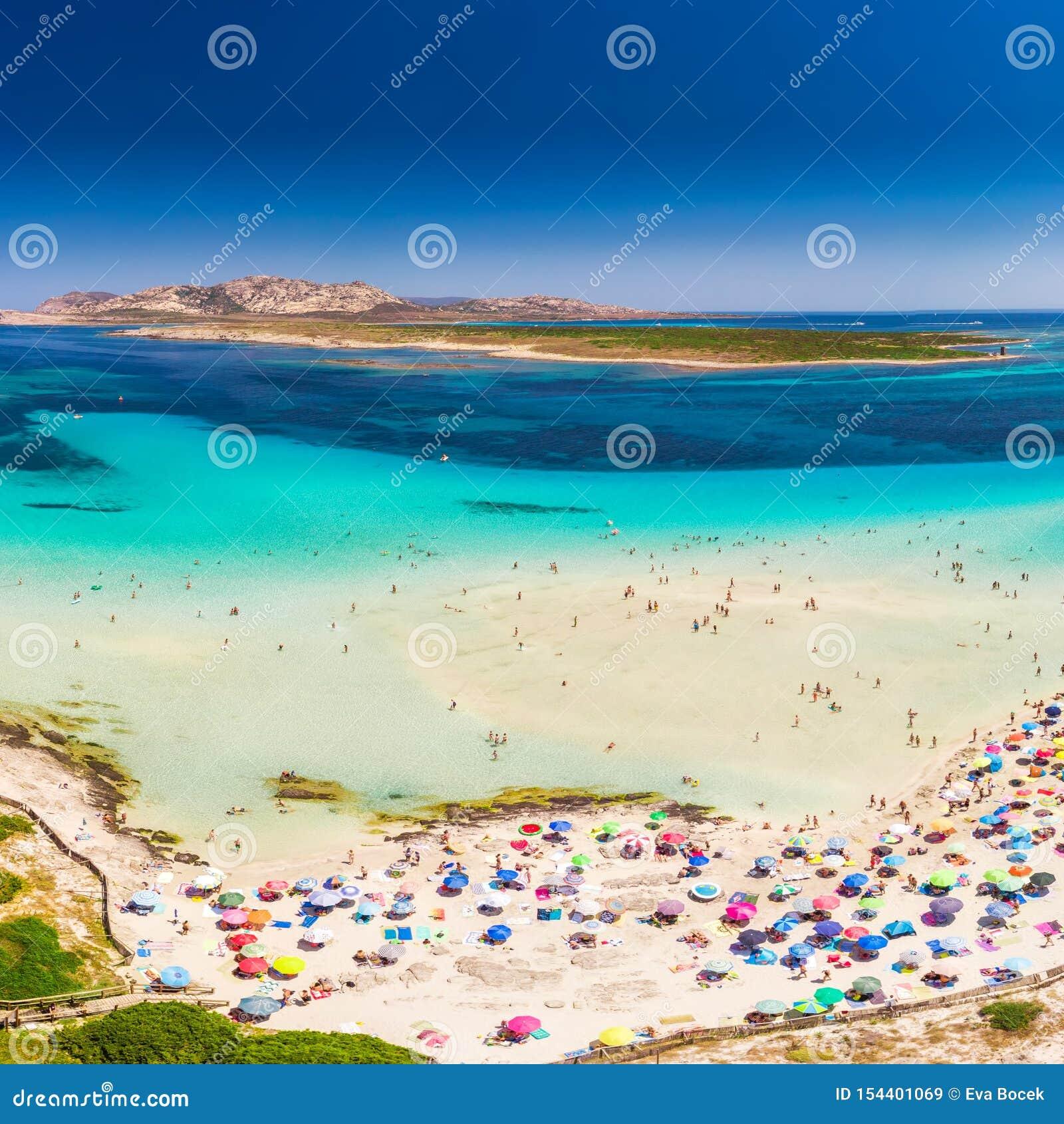 Sławna losu angeles Pelosa plaża na Sardinia wyspie, Sardinia, Włochy
