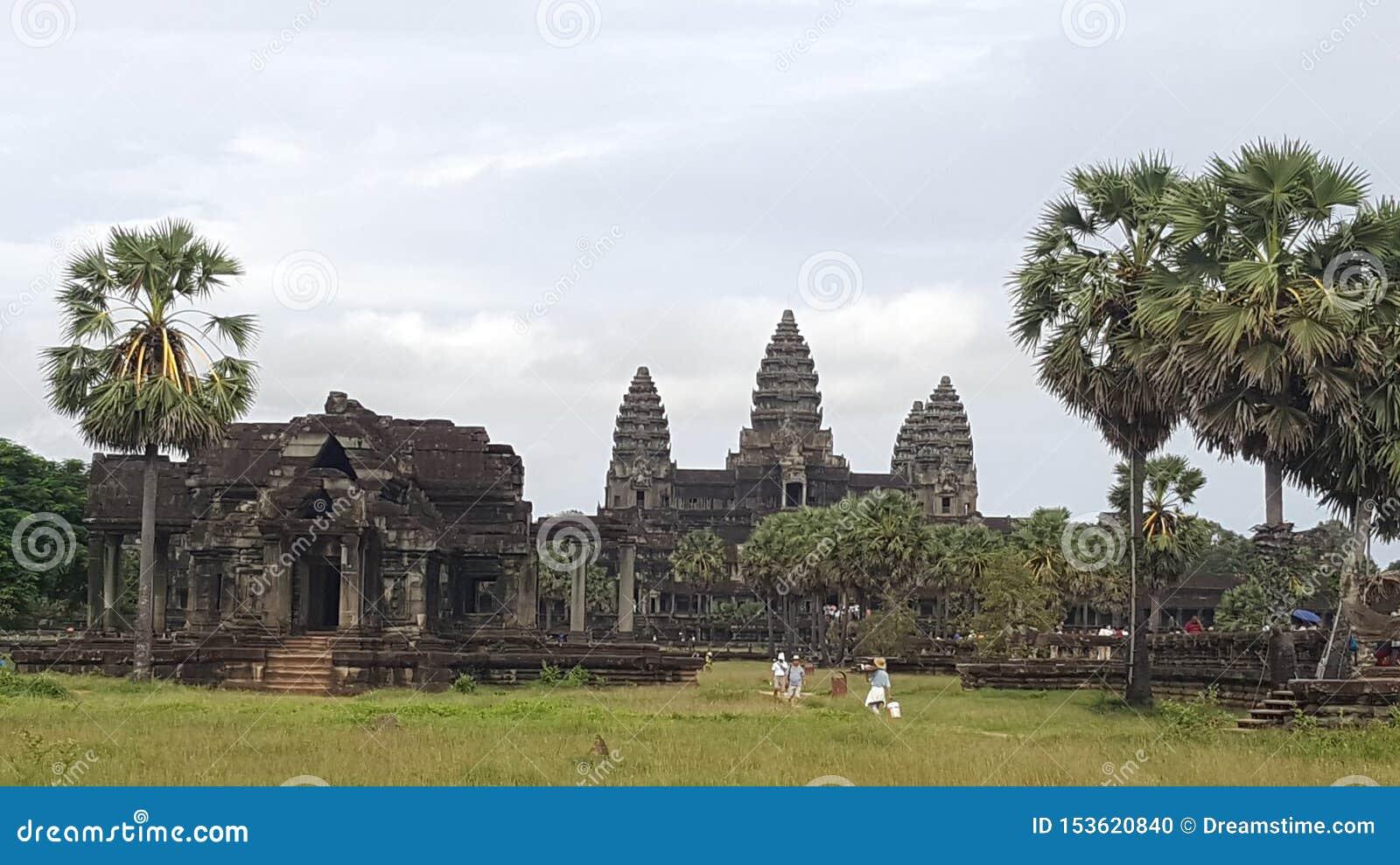 Sławny Angkor Wat w Siem Przeprowadza żniwa