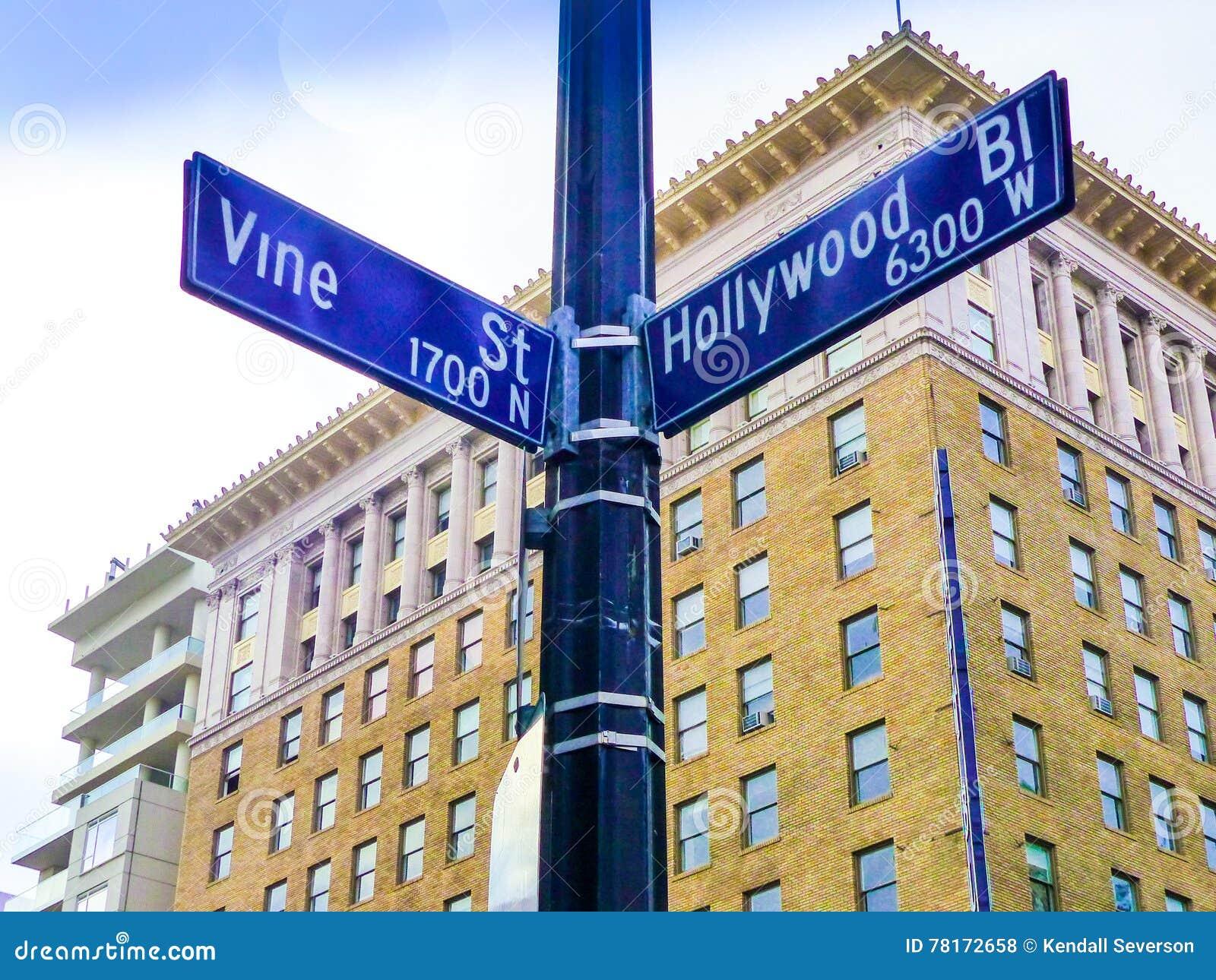 Sławny Historyczny Hollywood winogradu & bulwaru skrzyżowanie, Kalifornia