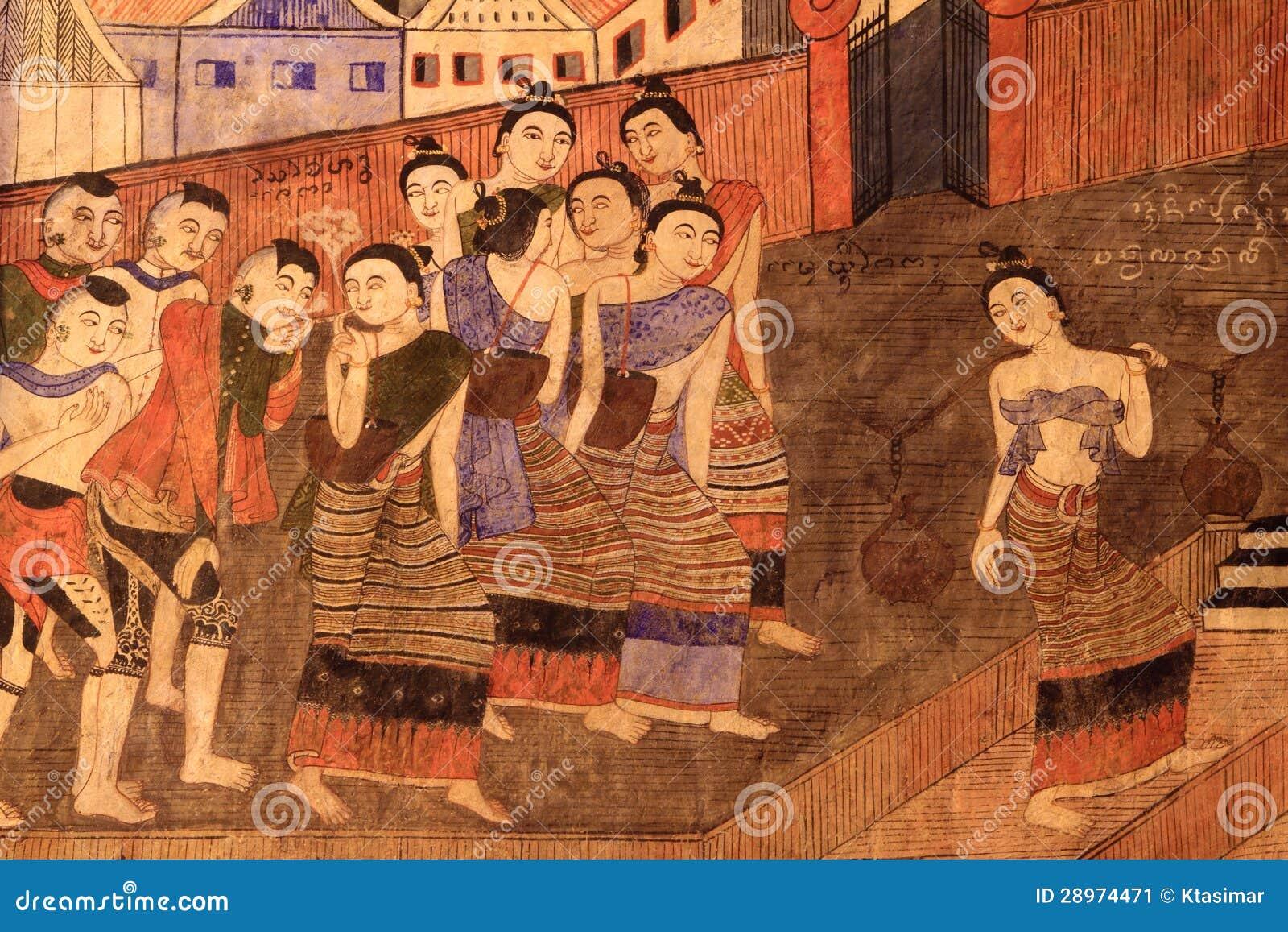 Sławny i Klasyczny malowidło ścienne obraz w Nan, Tajlandia