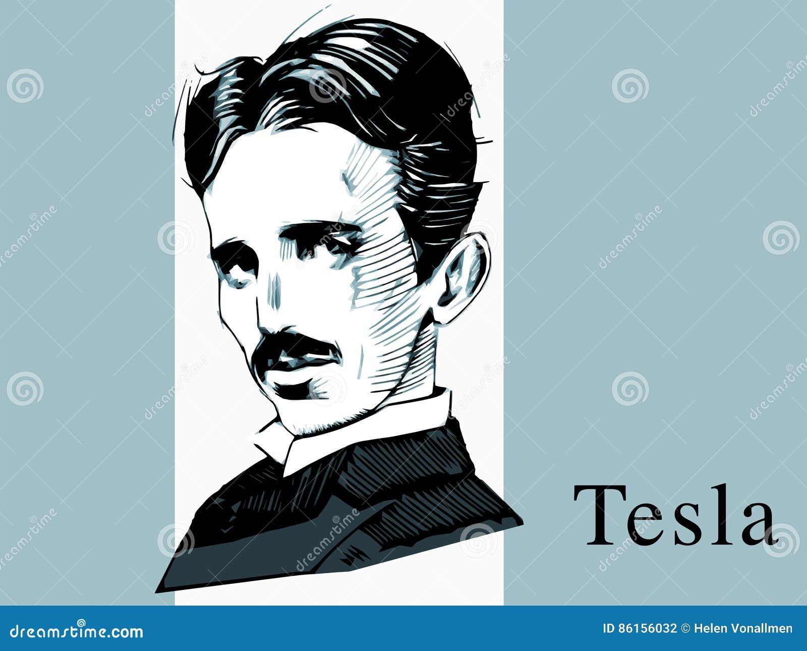 Sławny naukowiec Tesla, ręka remisu portret