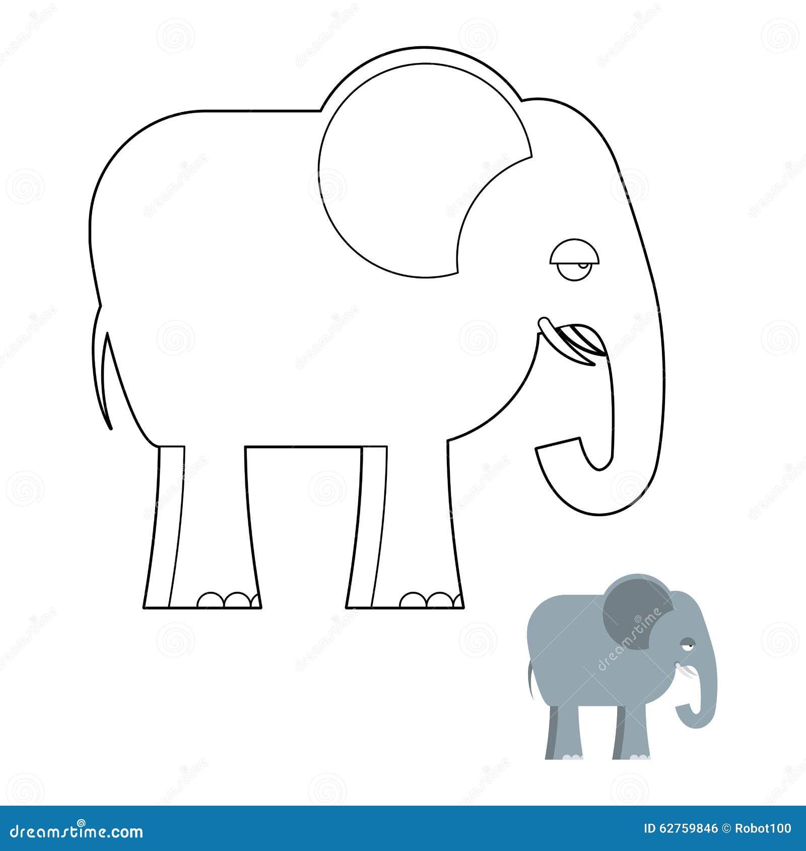 Słoń kolorystyki książka Duży zwierzę dżungla z długim bagażnikiem