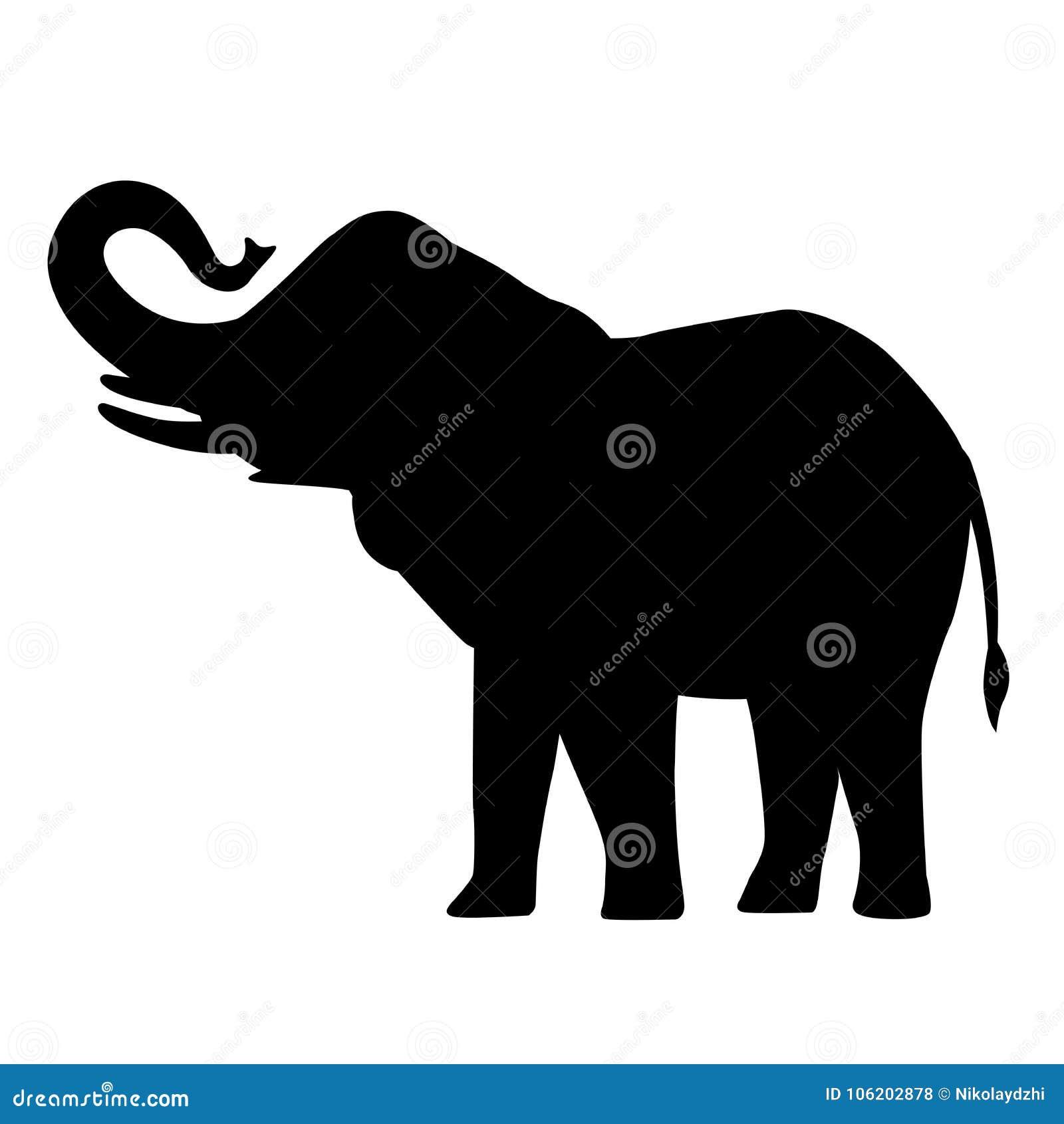 Słoń kreskówki sylwetki ikony słonia azjatykciego słonia lasowy afrykański krzak z wielkich ucho wektorową ilustracją odizolowywa