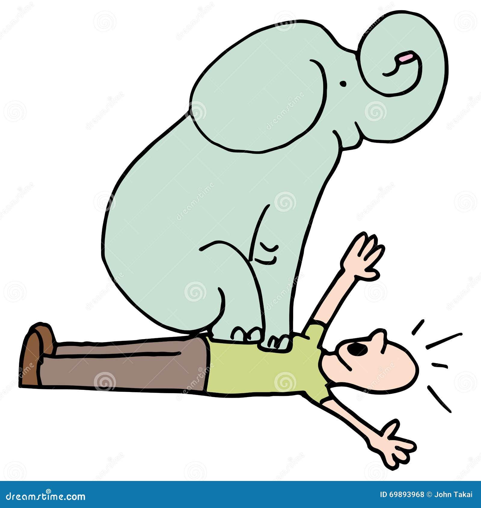 Słoń na mężczyzna klatki piersiowej astmie