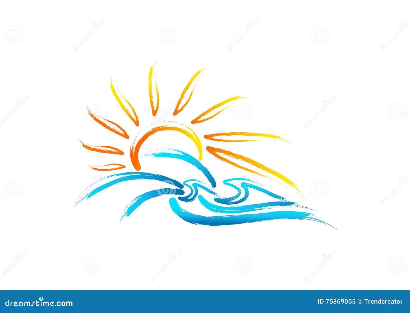 Słońca morza fala logo, rocznika lata symbol, retro dzikiej natury pojęcia morski projekt