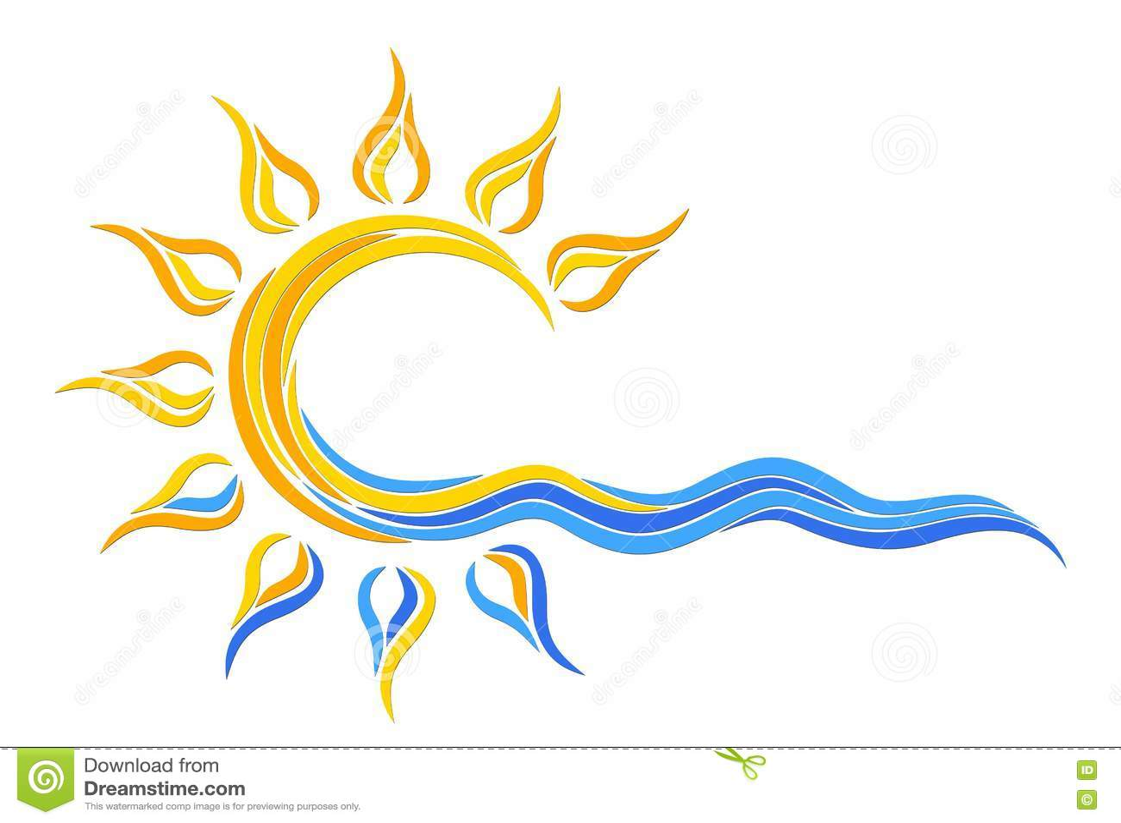 Słońce logo w morzu