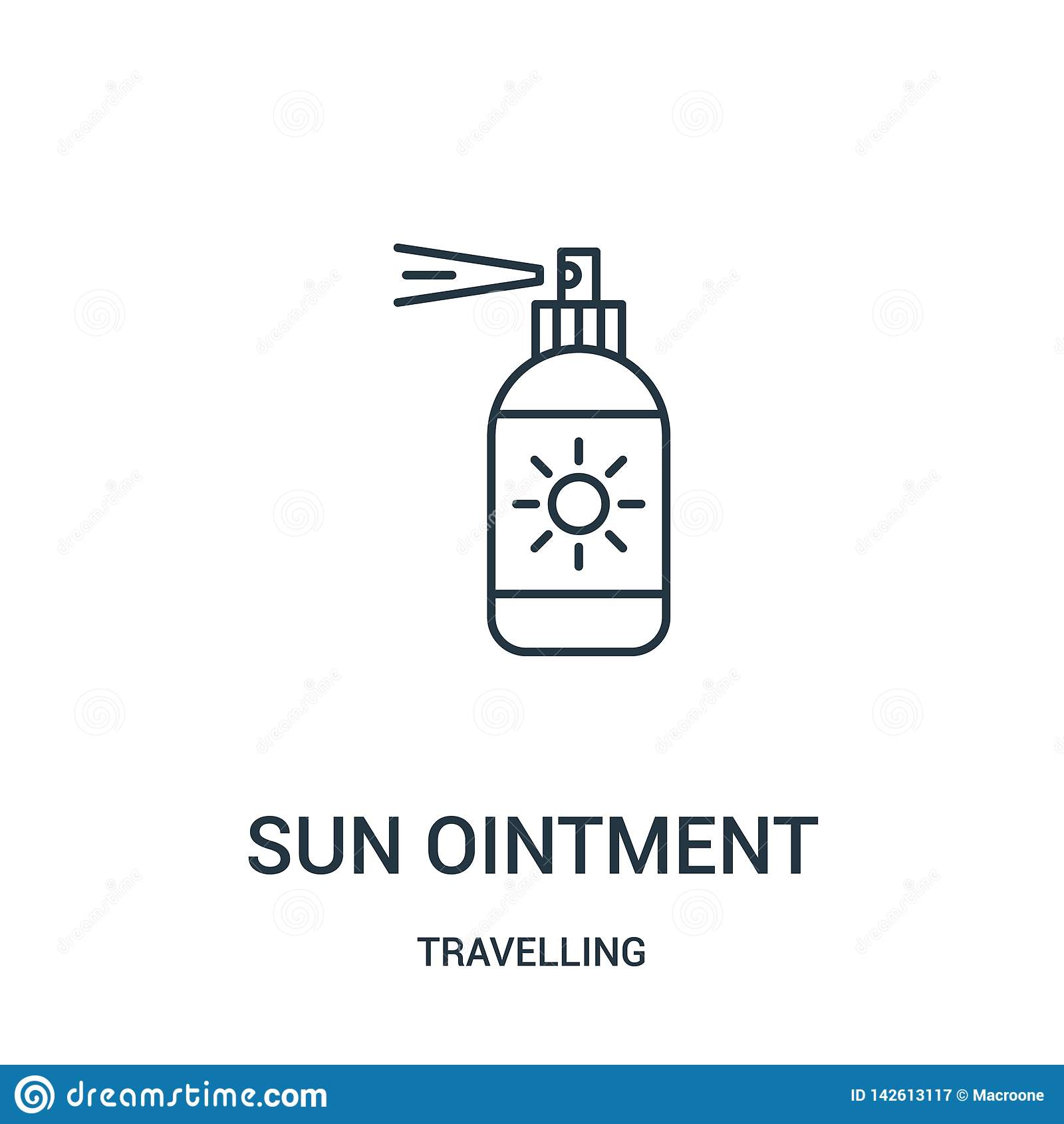 Słońce maści ikony wektor od podróżnej kolekcji Cienka kreskowa słońce maści konturu ikony wektoru ilustracja Liniowy symbol