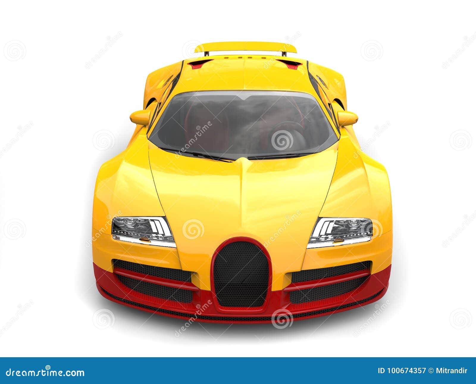 Słońce sportów żółty nowożytny super samochód - odgórny widok