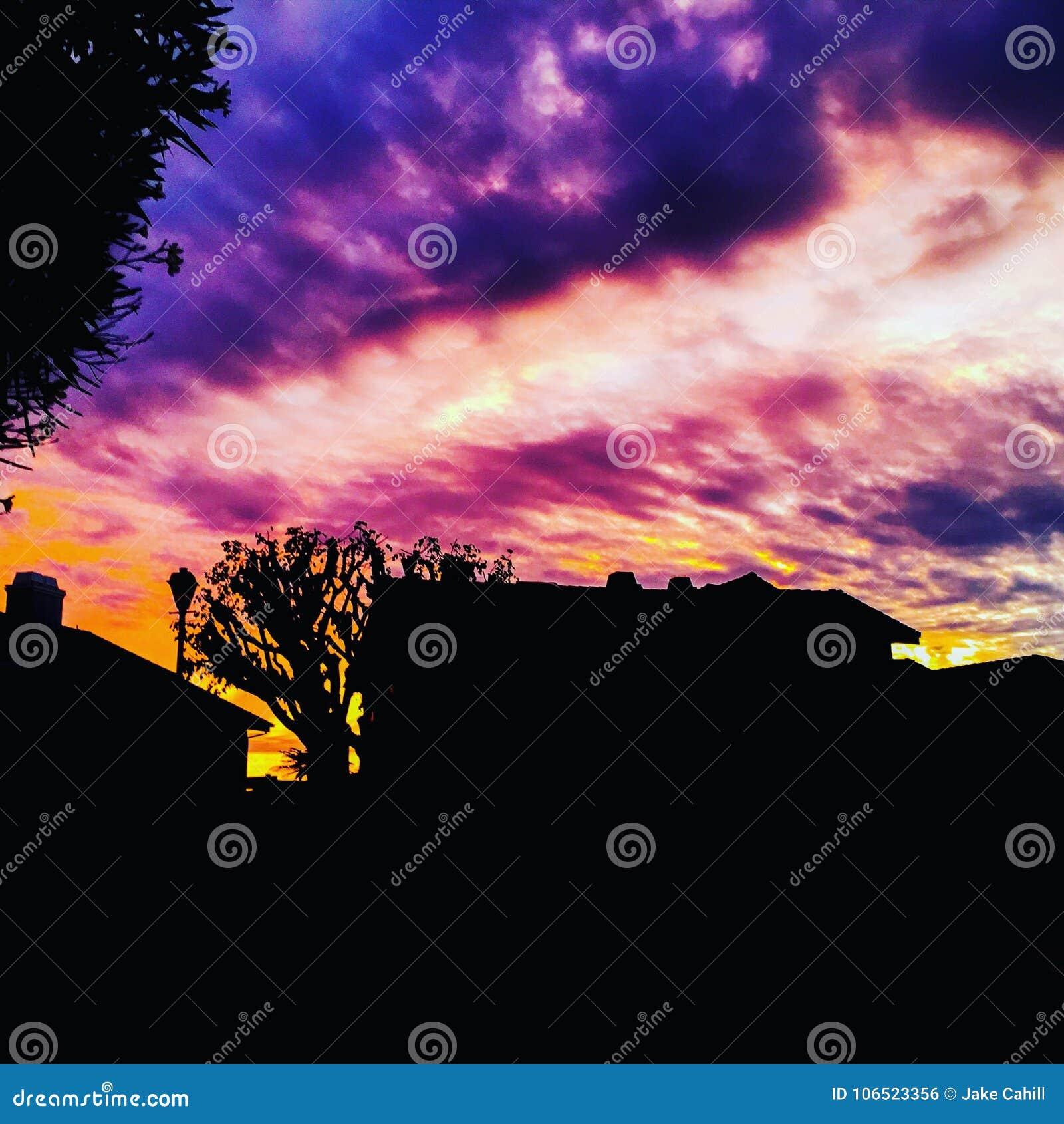 Słońce ustawiający w Kalifornia