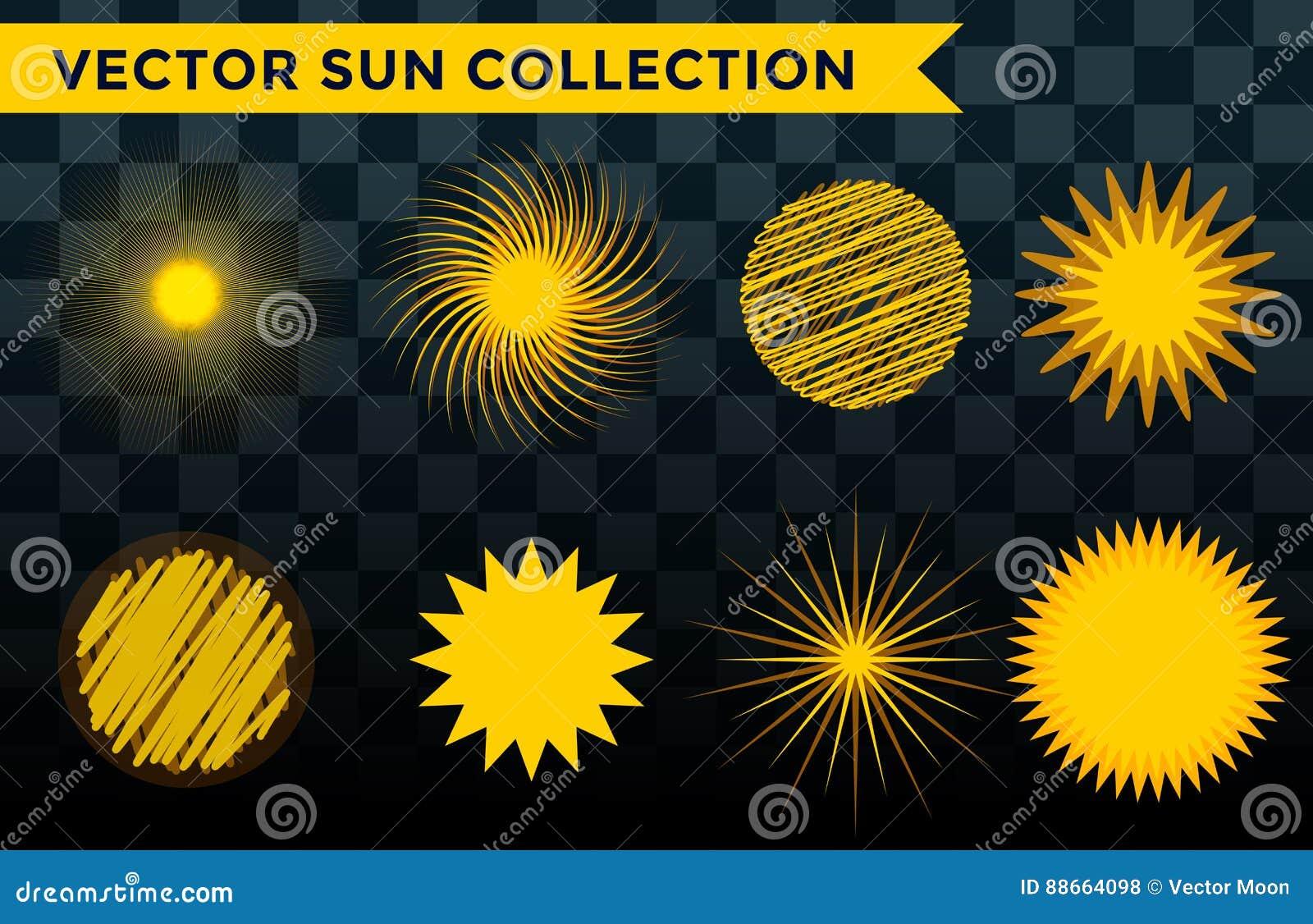 Słońce wybuchu gwiazdy ikony natury połysku światła słonecznego sunbeam iskry wschodu słońca ustalony wektorowy ilustracyjny lato