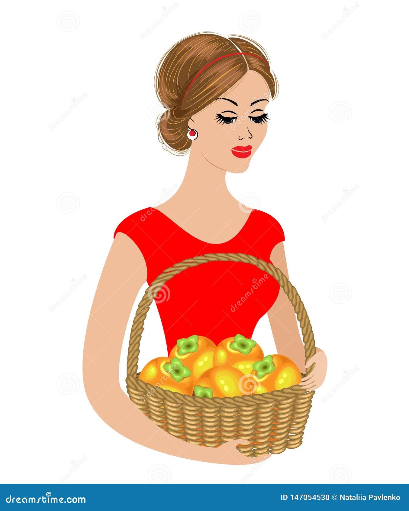 Słodka dama trzyma kosz persimmons Dojrza?ej i s?odkiej pomara?cze owoc Dziewczyna jest m?oda i pi?kna r?wnie? zwr?ci? corel ilus