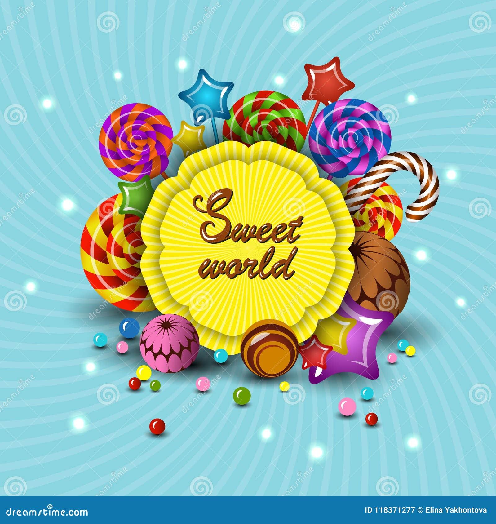 Słodki świat, wektorowy kreskówka loga dzieci ` s taktuje lizaki, cukierek Odizolowywa ilustrację dla dzieciaka przyjęcia projekt