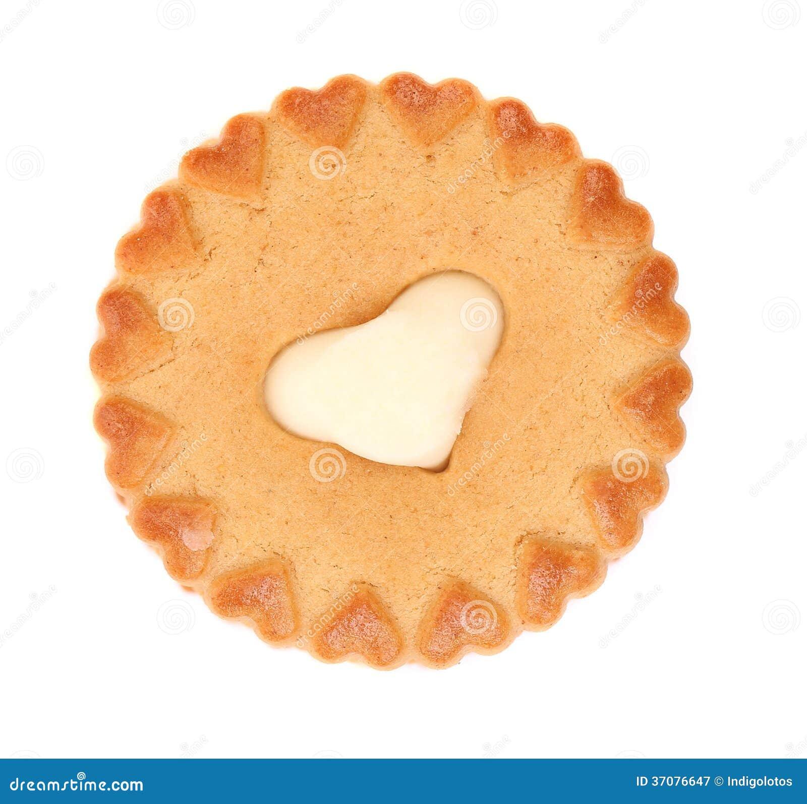 Download Słodki Ciasto Z Białym Kremowym Sercem. Obraz Stock - Obraz złożonej z shortbread, miłość: 37076647