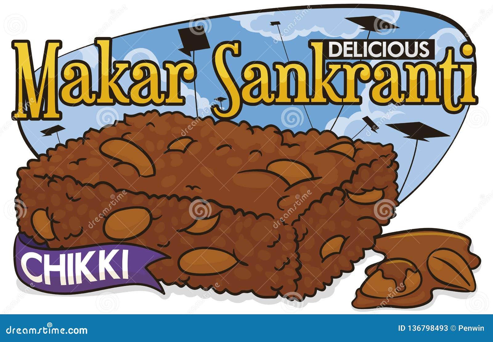 Słodki Makar Sankranti festiwal z Chikki, arachidami, Jaggery i kaniami, Wektorowa ilustracja