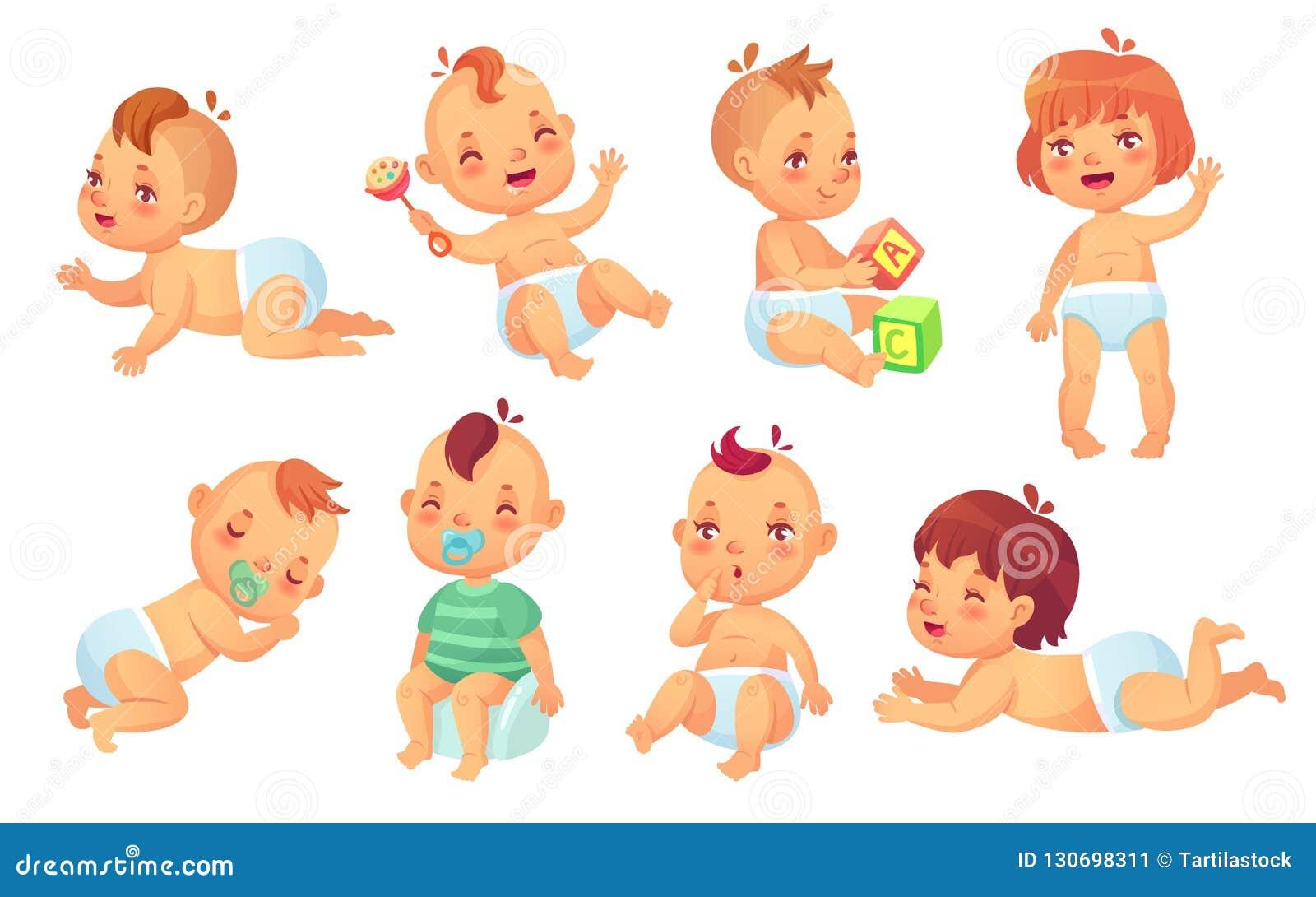Słodkie dziecko Szczęśliwy kreskówek dzieci, uśmiechniętego i roześmianego berbeć, odizolowywał wektorowego charakteru - set