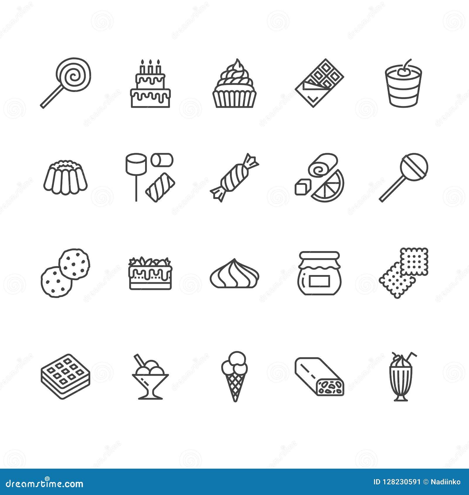 Słodkie karmowe mieszkanie linii ikony ustawiać Ciasto ilustracj wektorowy lizak, czekoladowy bar, milkshake, ciastko, urodzinowy
