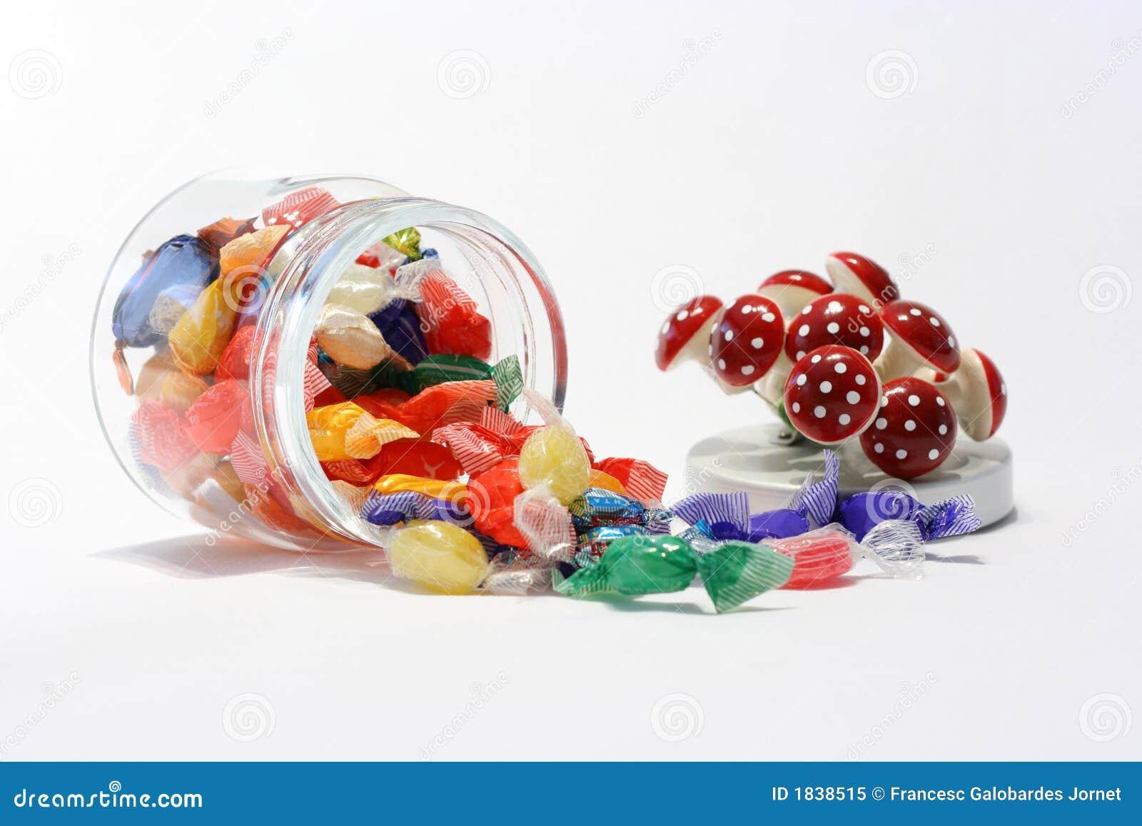 Słoik cukierkami wieko dekoracyjny
