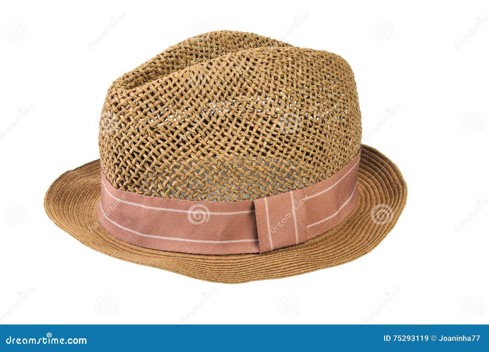 Słomiany kapelusz odizolowywający na białym tle