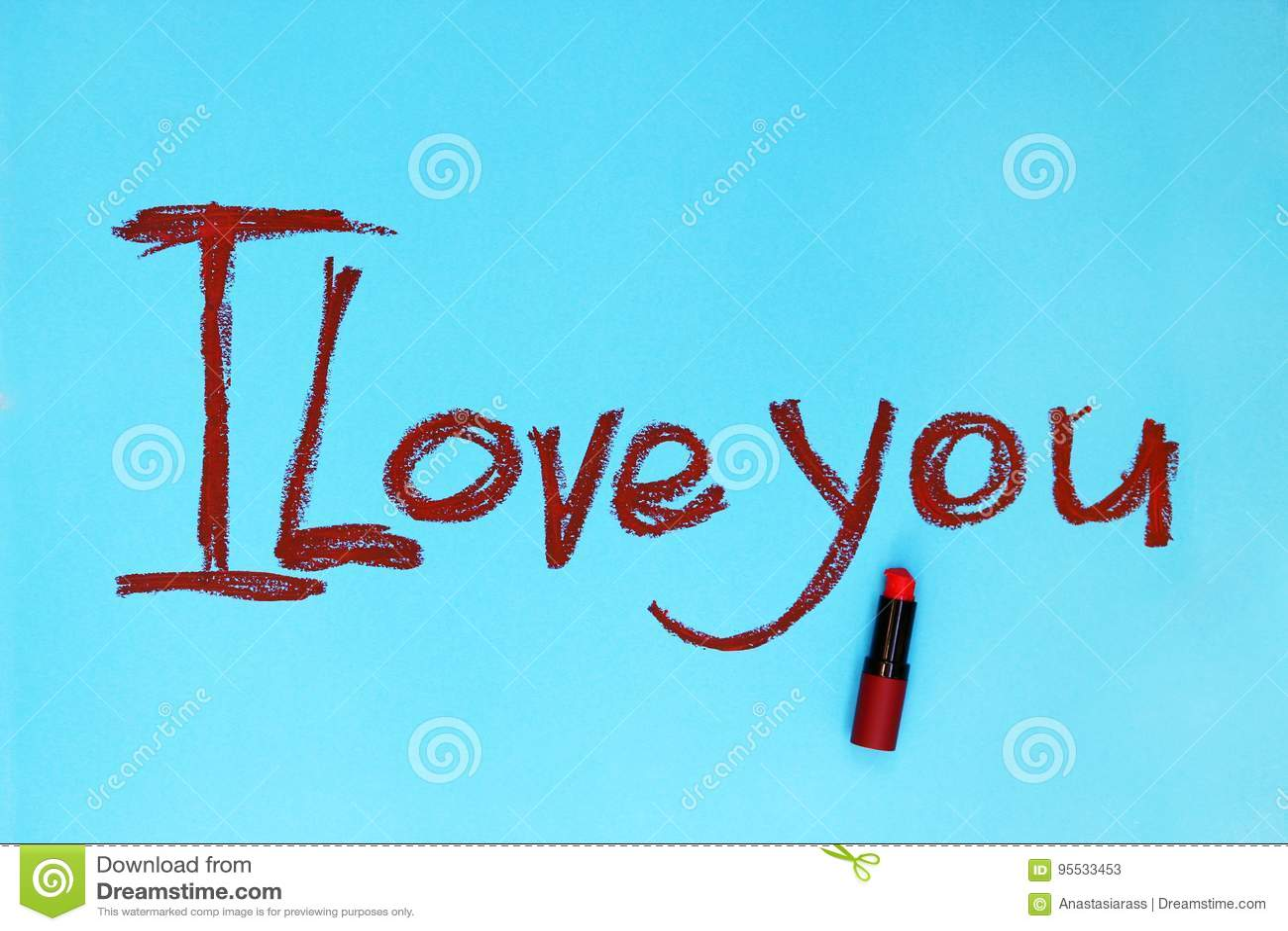 Słowa Kocham ciebie pisać pomadką