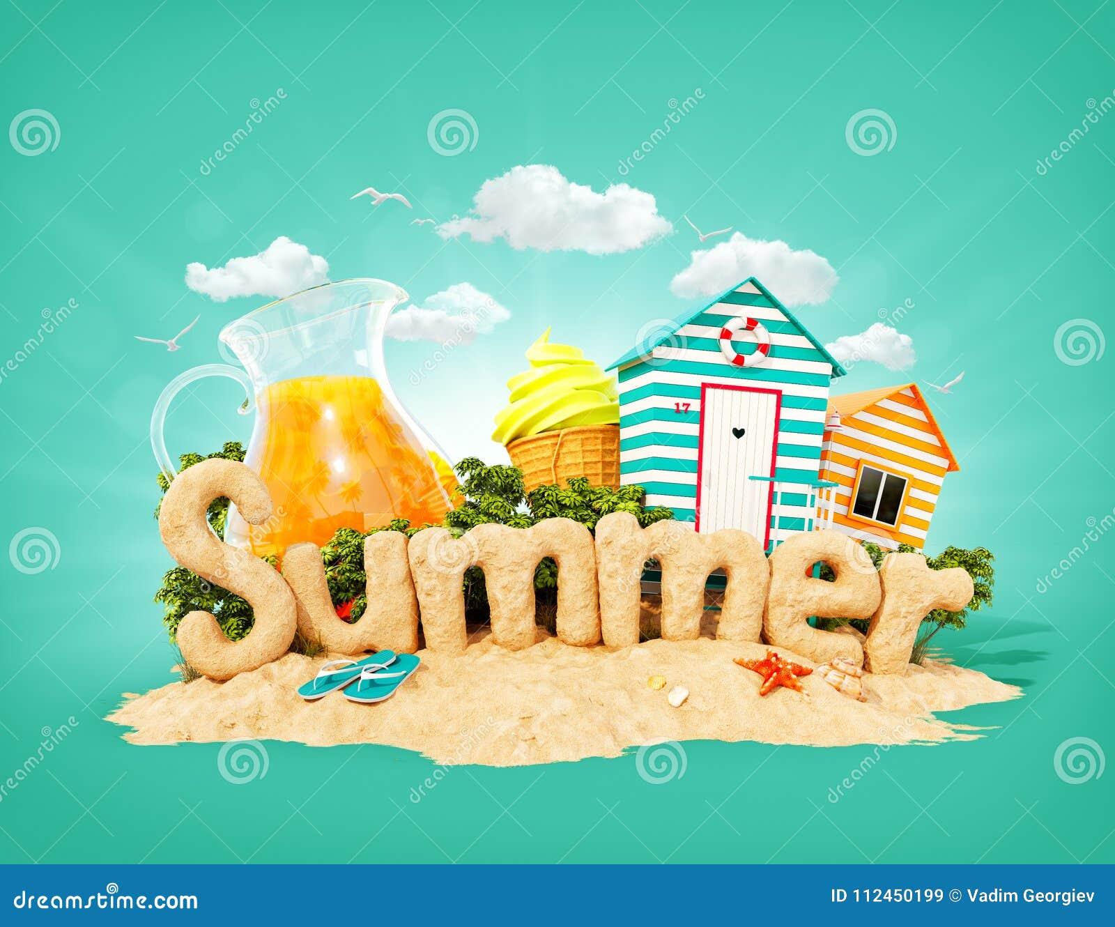 Słowa lato robić piasek na tropikalnej wyspie Niezwykła 3d ilustracja wakacje