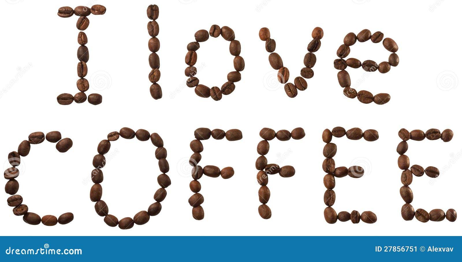 Słowa od kawowych fasoli odizolowywać