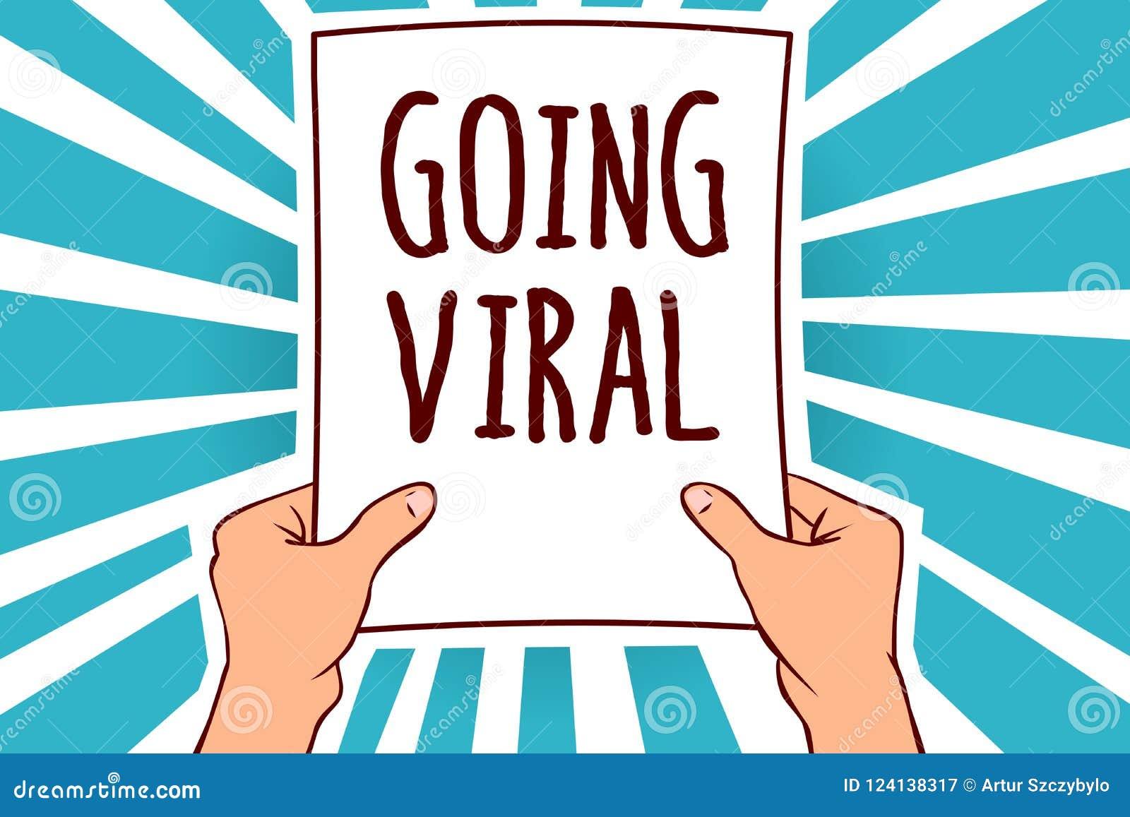 Słowa writing tekst Iść Wirusowy Biznesowy pojęcie dla wizerunku wideo lub łączy przez populacja mężczyzna mienia papieru że rozs