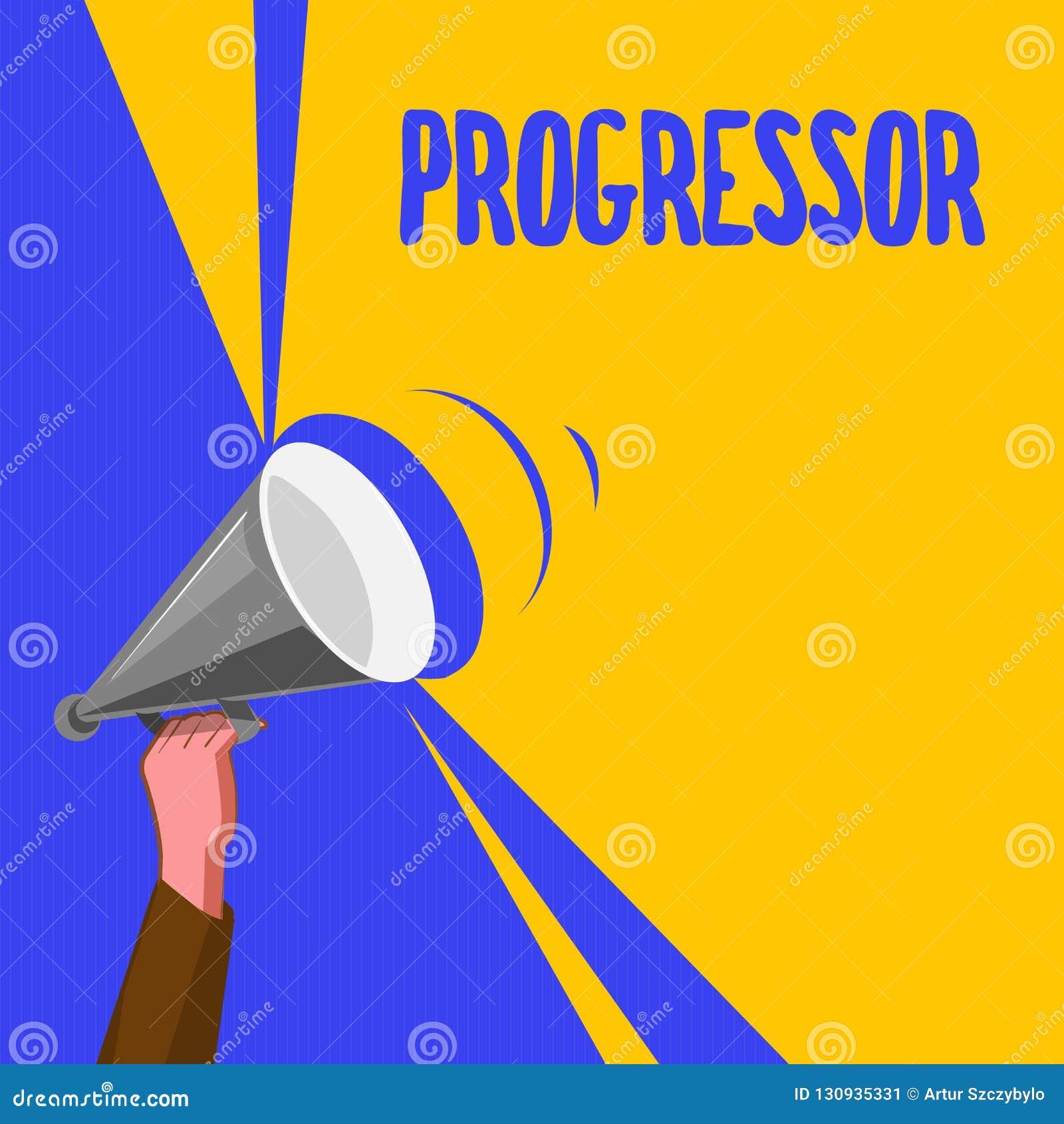 Słowa writing tekst Progressor Biznesowy pojęcie dla osoby która robi postępowi lub udogadnia je w inny motywacja