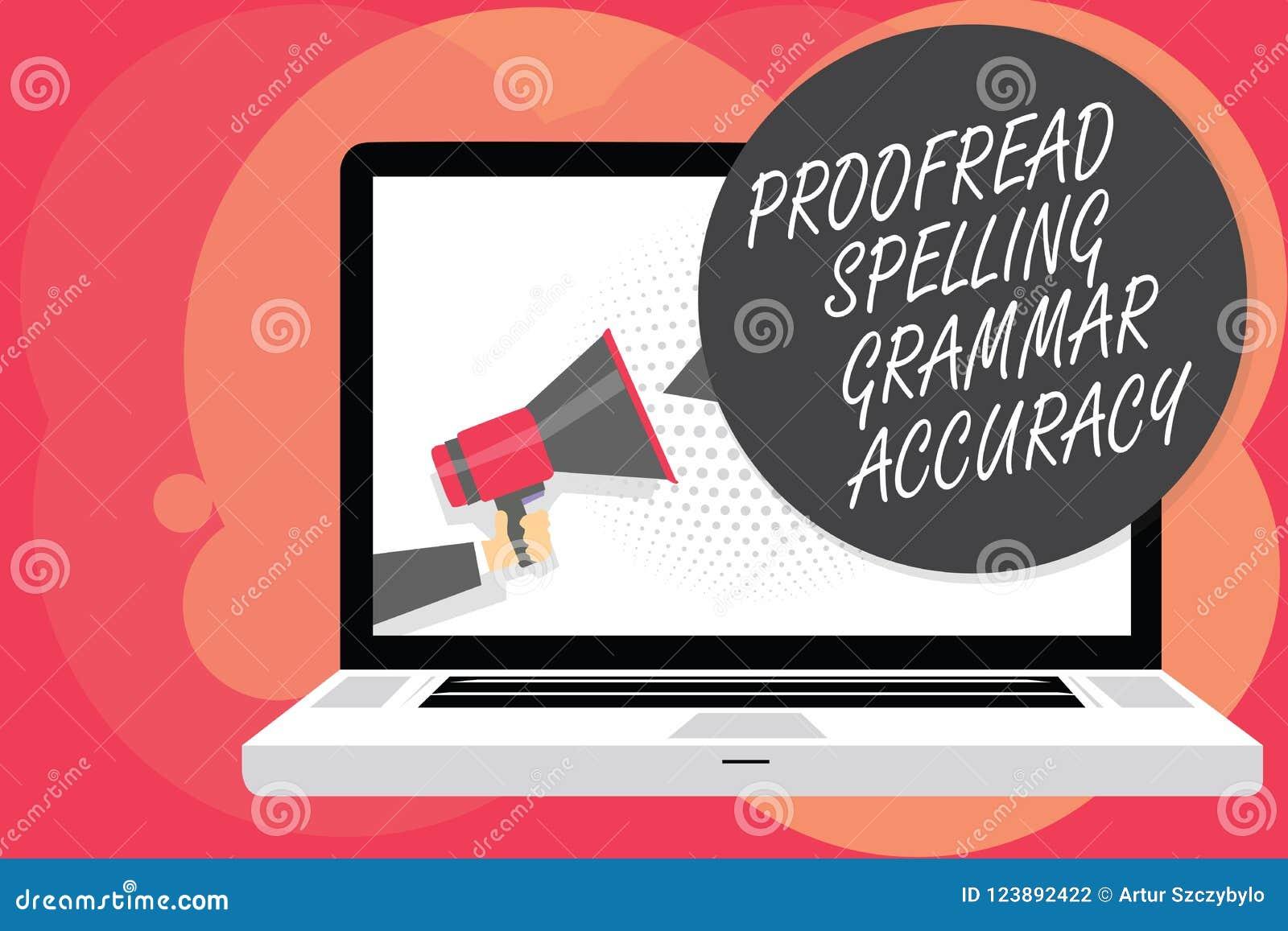 Słowa writing tekst Proofread Literujący gramatyki dokładność Biznesowy pojęcie dla Grammatically poprawnego Unika błędu mężczyzn
