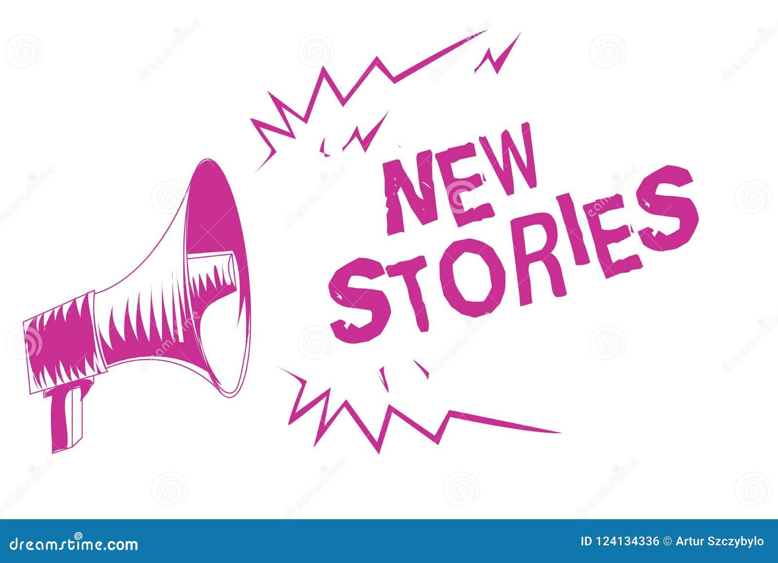 Słowa writing teksta Nowe opowieści Biznesowy pojęcie dla ludzi i wydarzeń imaginacyjnych lub istnych mówił dla rozrywka megafonu