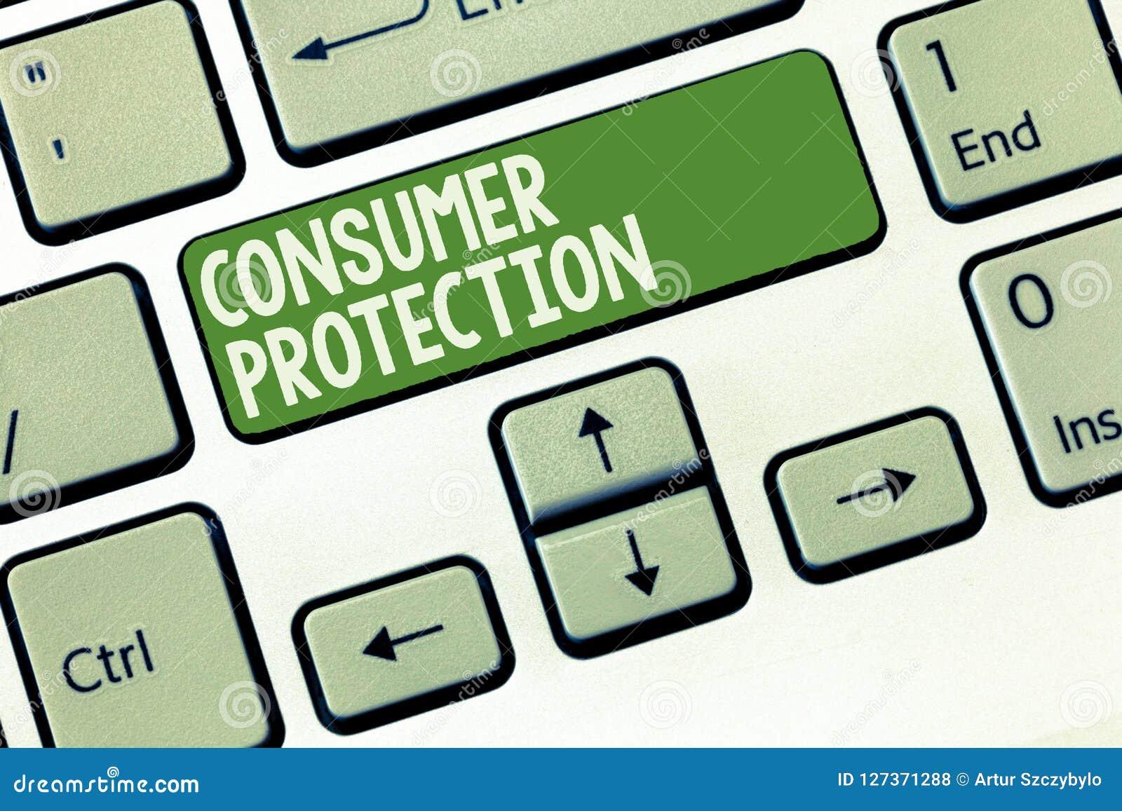 Słowa writing teksta ochrona konsumentów Biznesowy pojęcie dla uczciwych handli praw zapewniać konsument prawic ochronę
