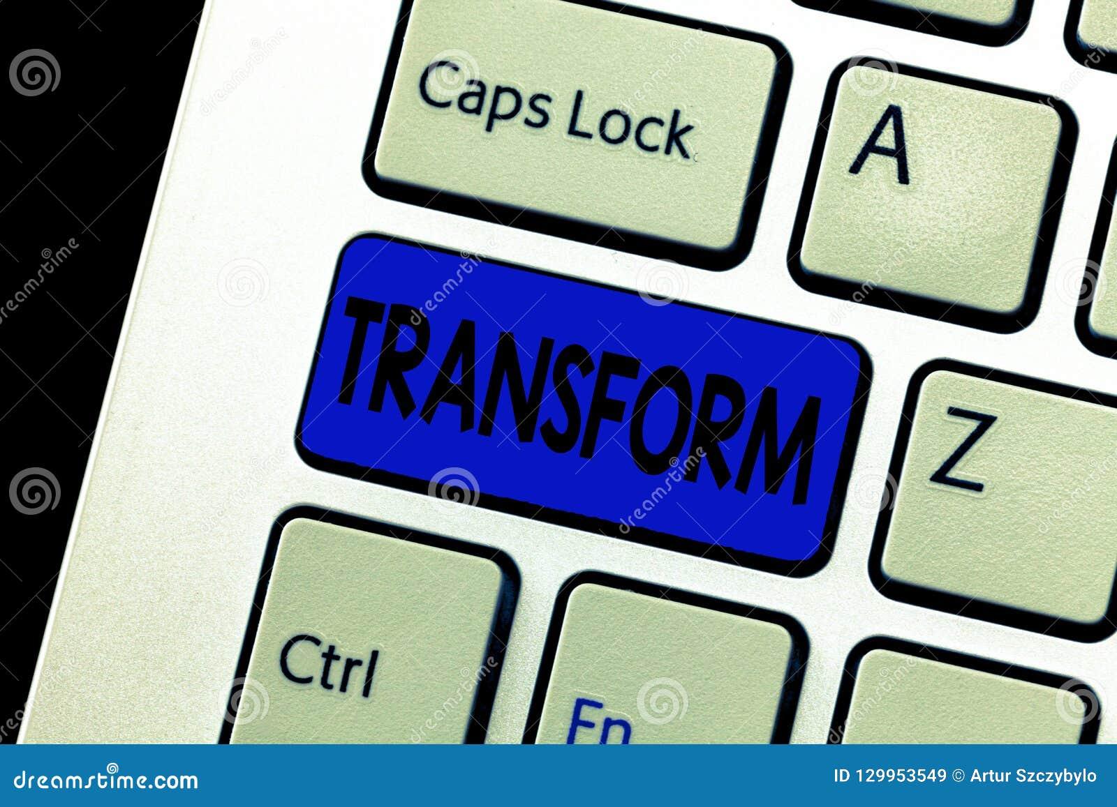 Słowa writing teksta transformata Biznesowy pojęcie dla Robić reamarkable zmiany w formularzowej naturze lub pojawienia coś
