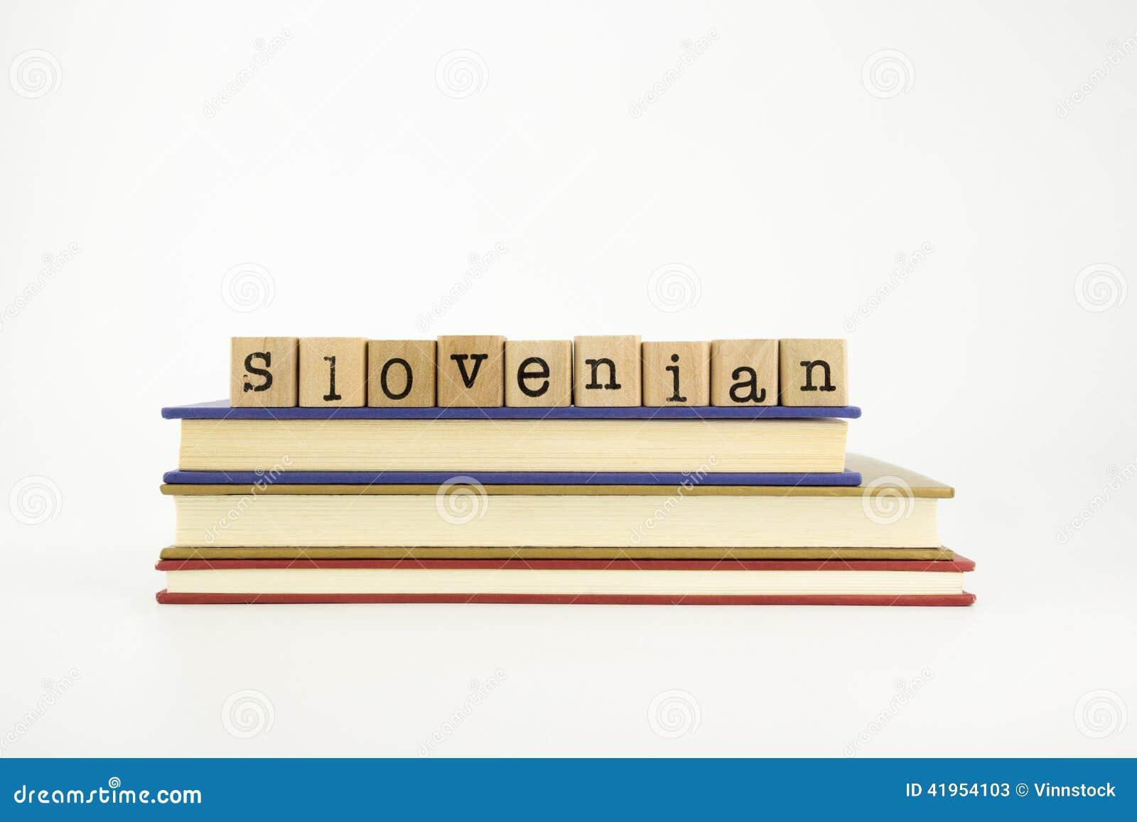 Słoweński językowy słowo na drewnie stempluje i rezerwuje
