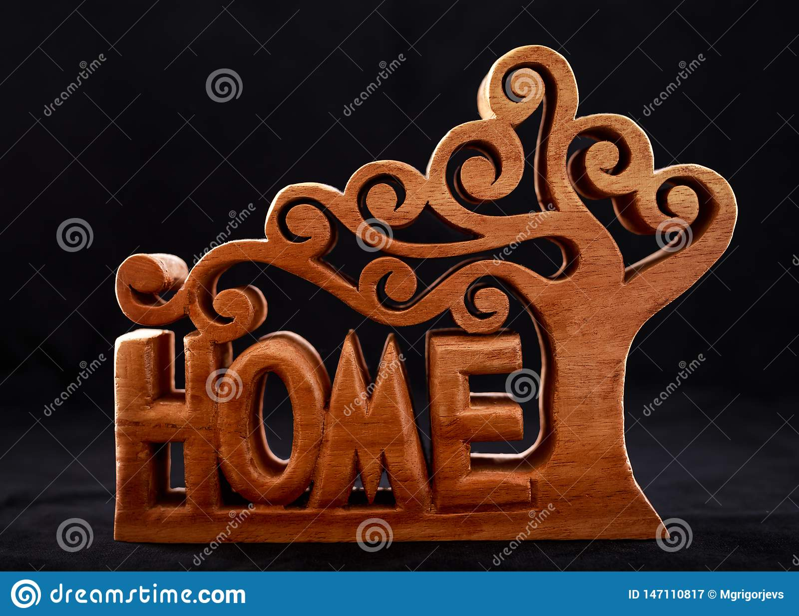 Słowo dom robić drewniana dekoracyjna postać