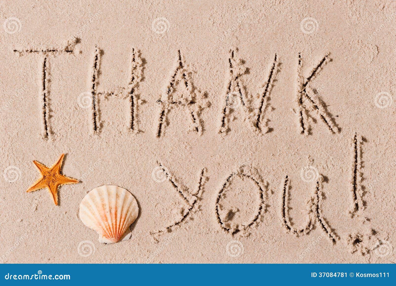 Download Słowo Dziękuje Ciebie Piasek Lub Seashells Obraz Stock - Obraz złożonej z modlenie, cyzelowanie: 37084781
