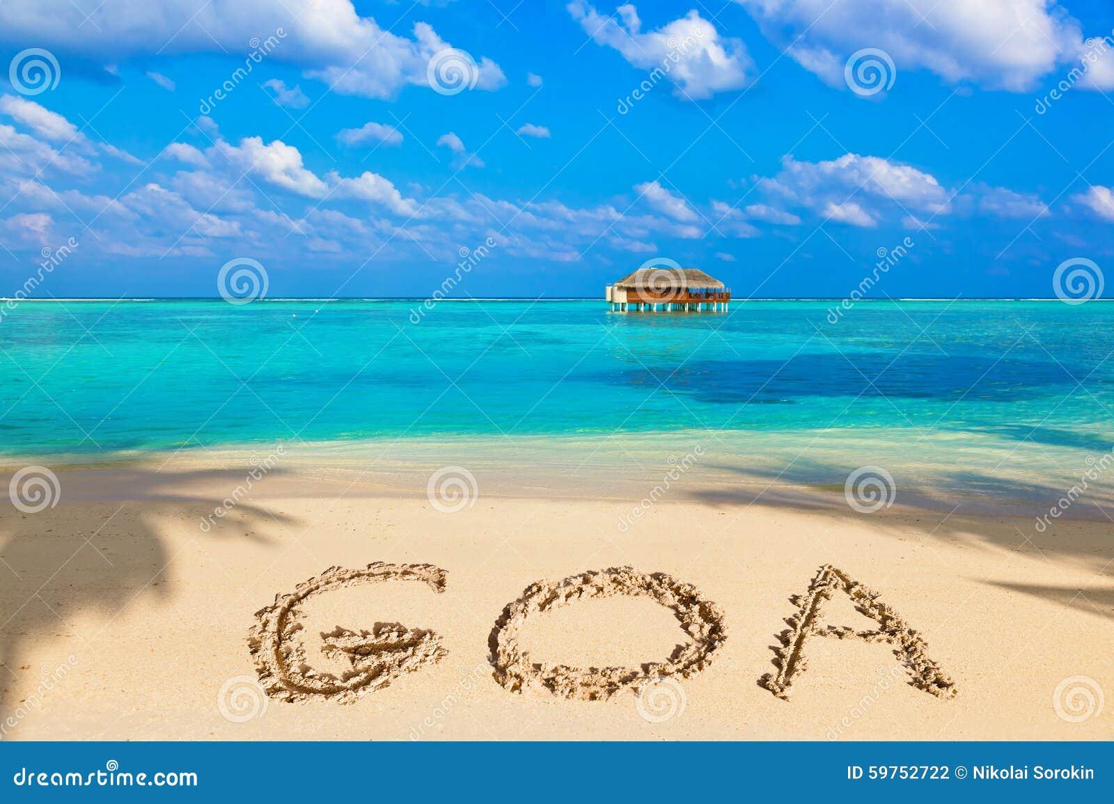 Słowo Goa na plaży