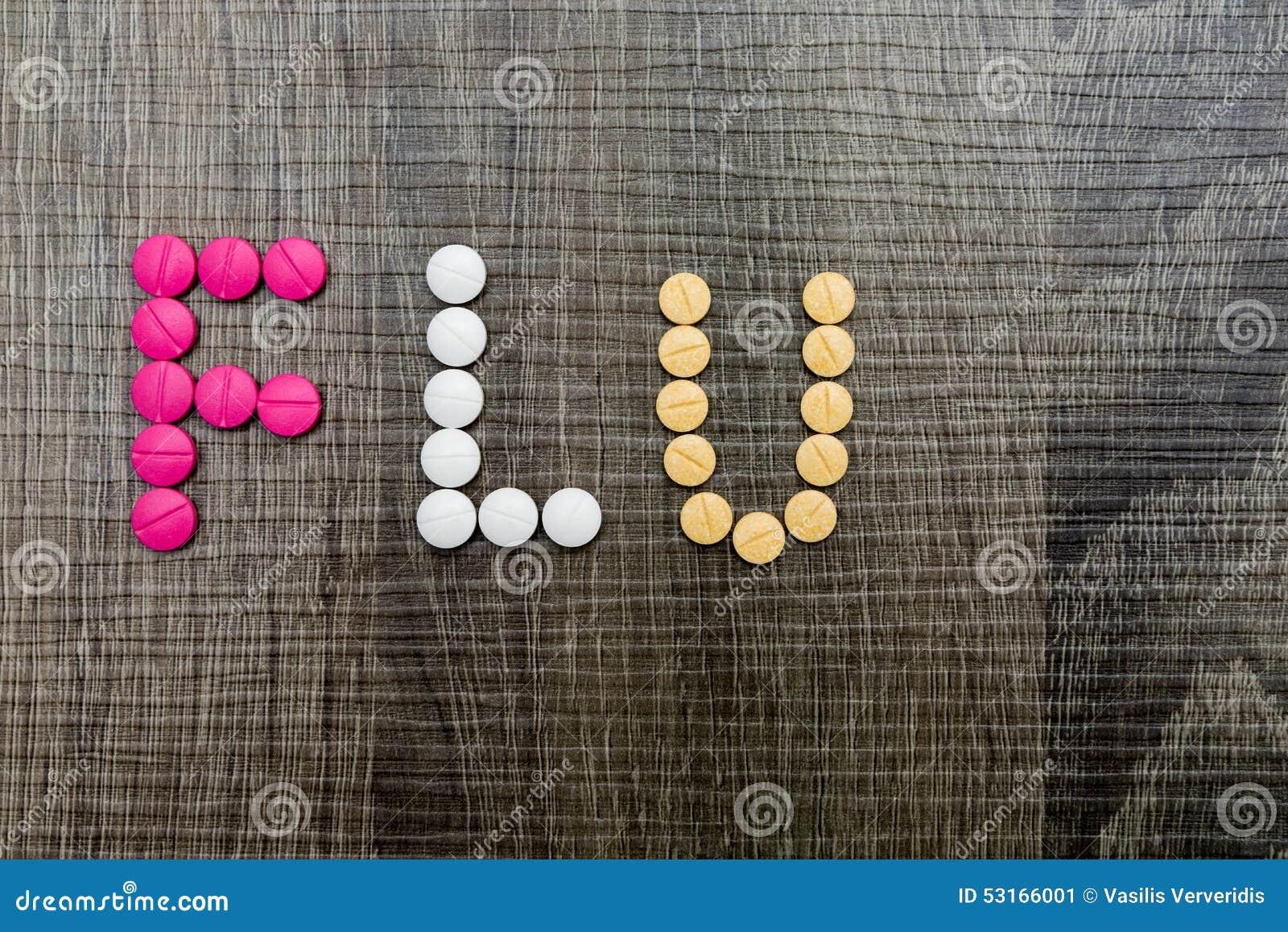 Słowo grypa pisać z pigułkami na drewnianym tle