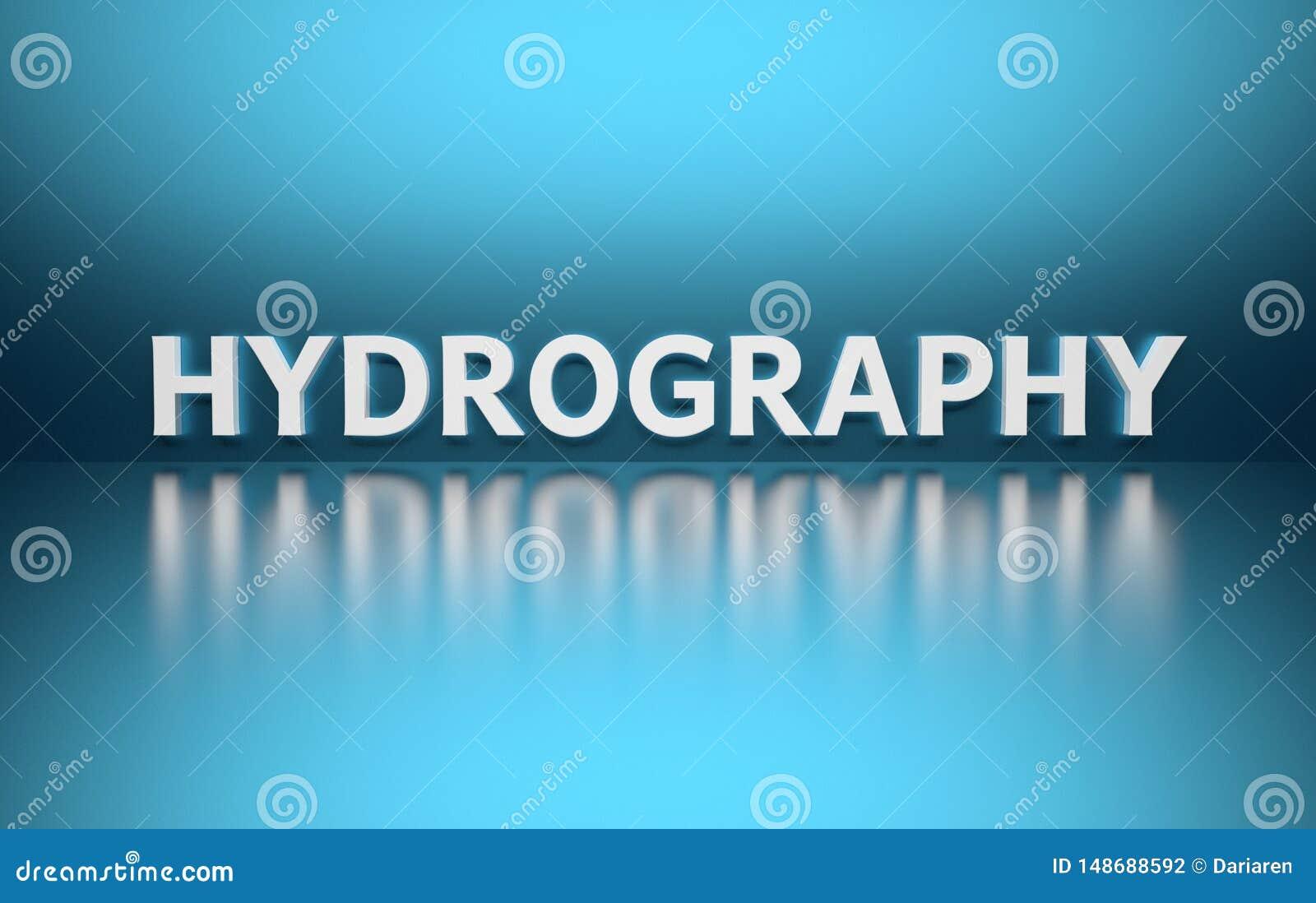 Słowo hydrografia na błękitnym tle