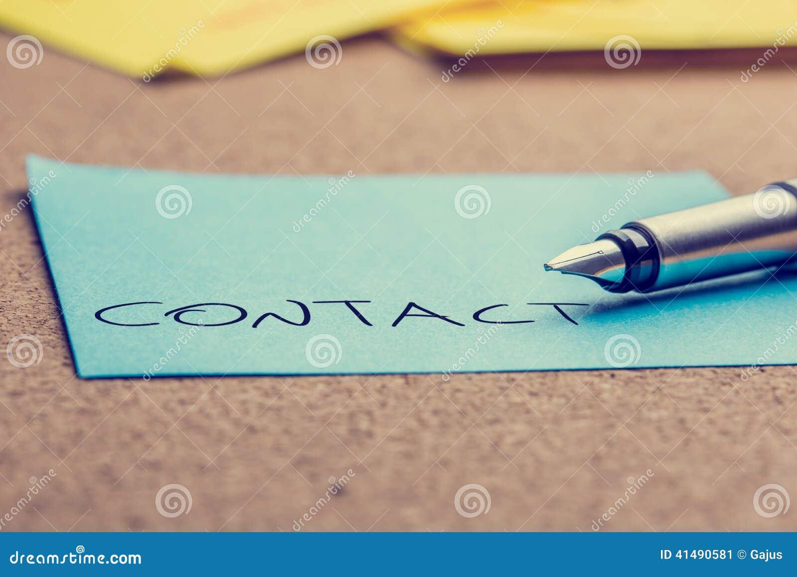 Słowo kontakt na poczta ja papier