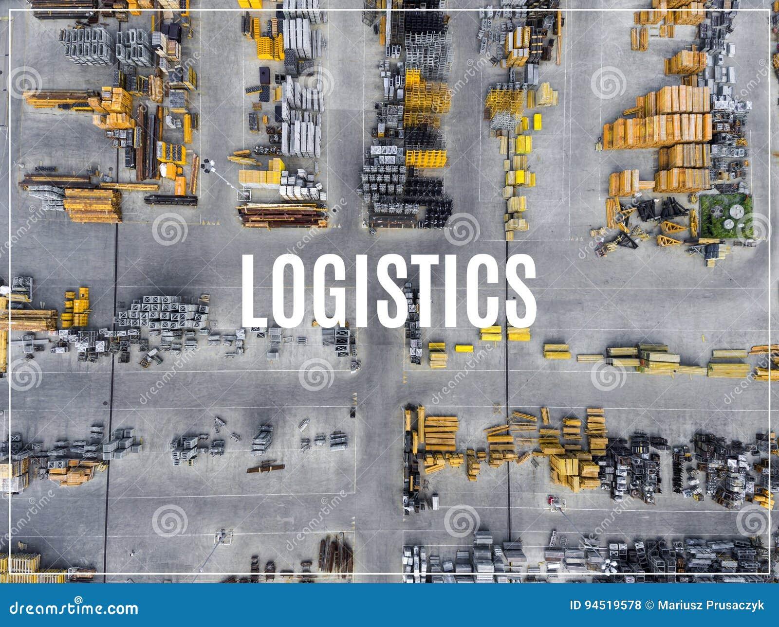 Słowo logistyki Przemysłowy składowy miejsce, widok od above