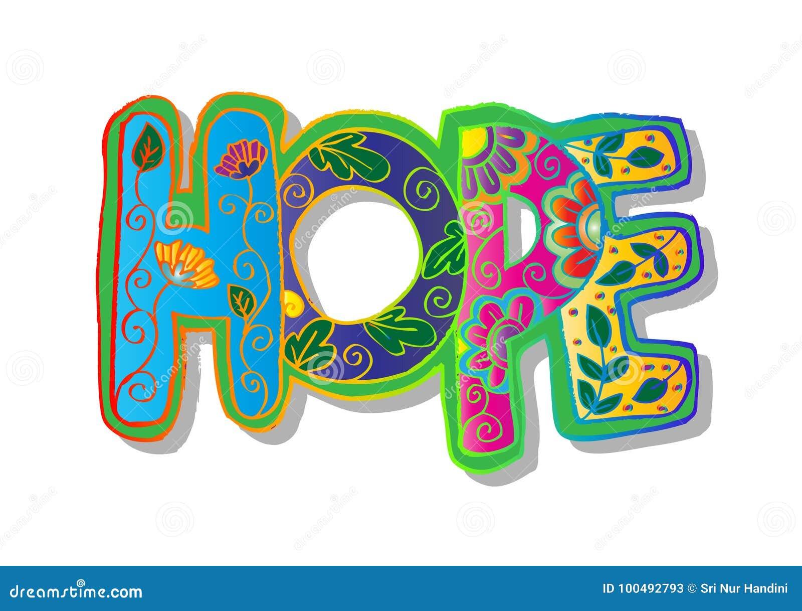 Słowo nadziei zentangle stylizujący