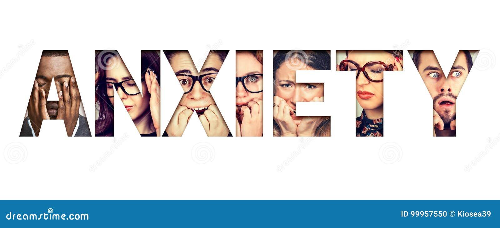 Słowo niepokój komponujący niespokojne zaakcentowane twarze mężczyzna i kobiety