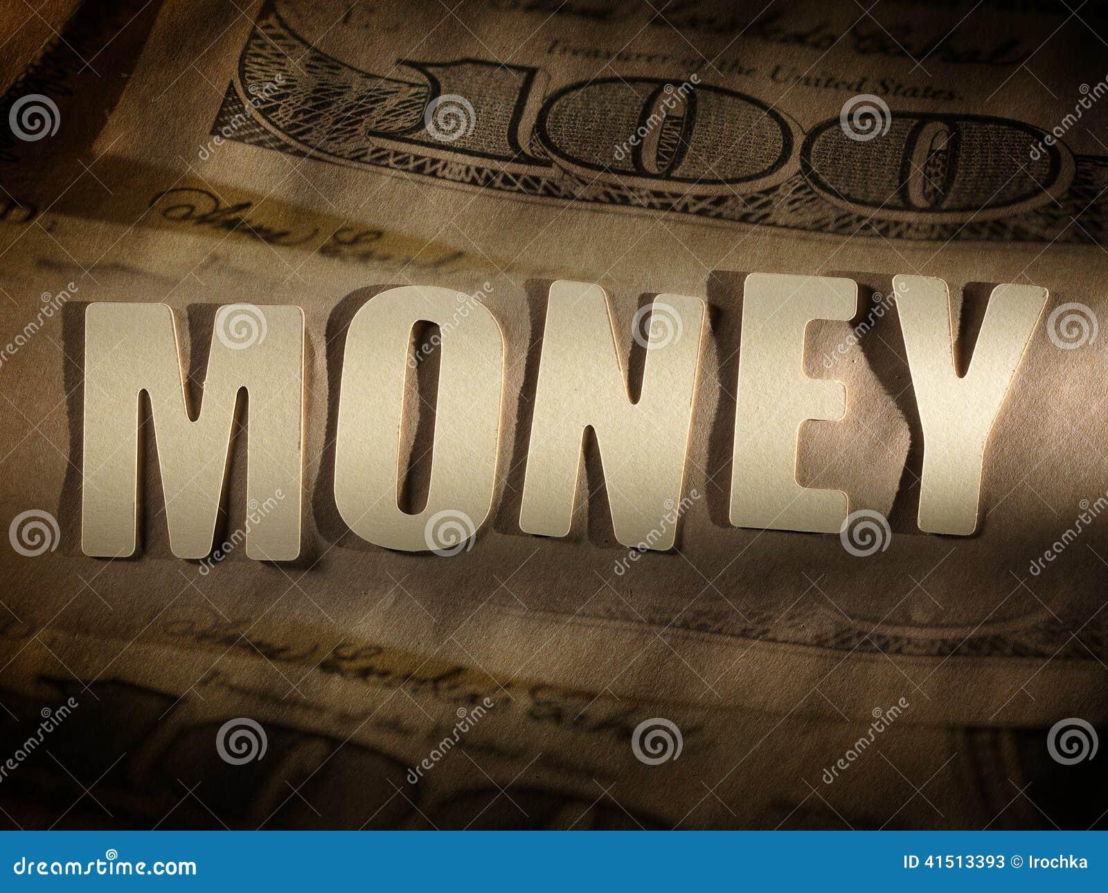 Słowo pieniądze na papierowym tle