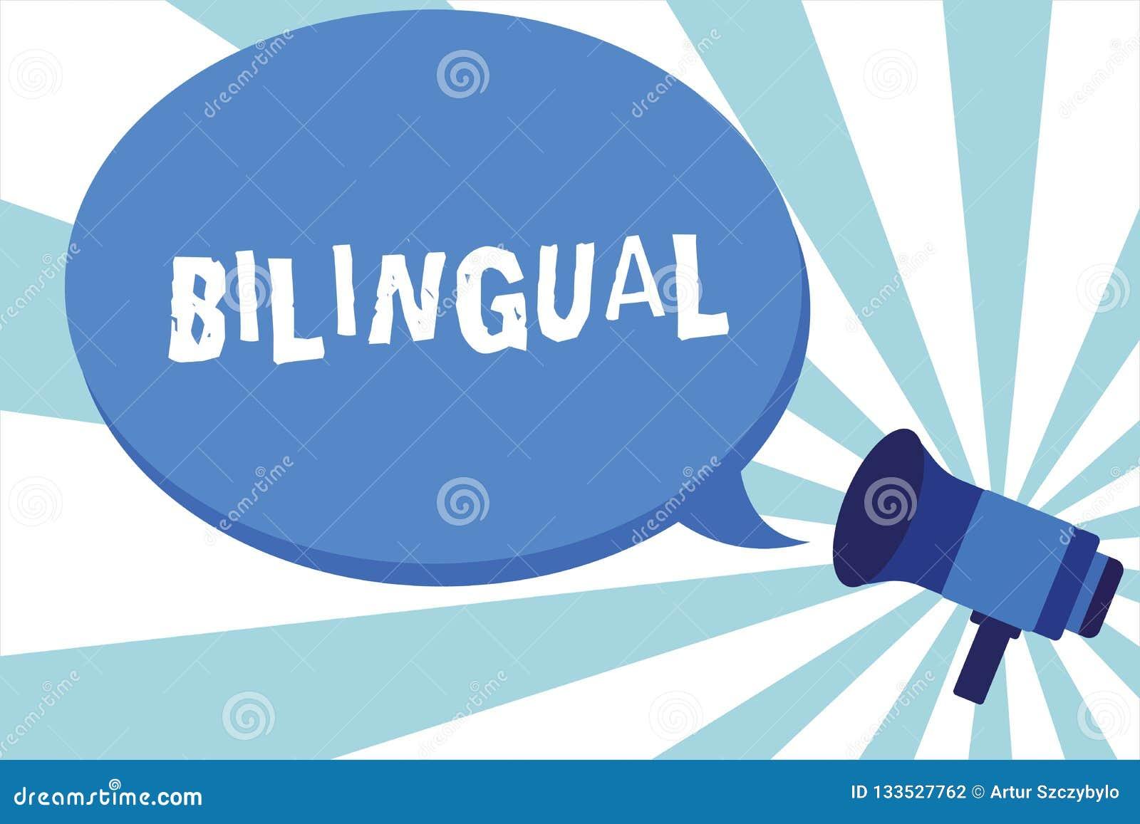 Słowo pisze tekscie Dwujęzycznym Biznesowy pojęcie dla mówić dwa języka lub więcej fluently praca jako tłumacza megafon
