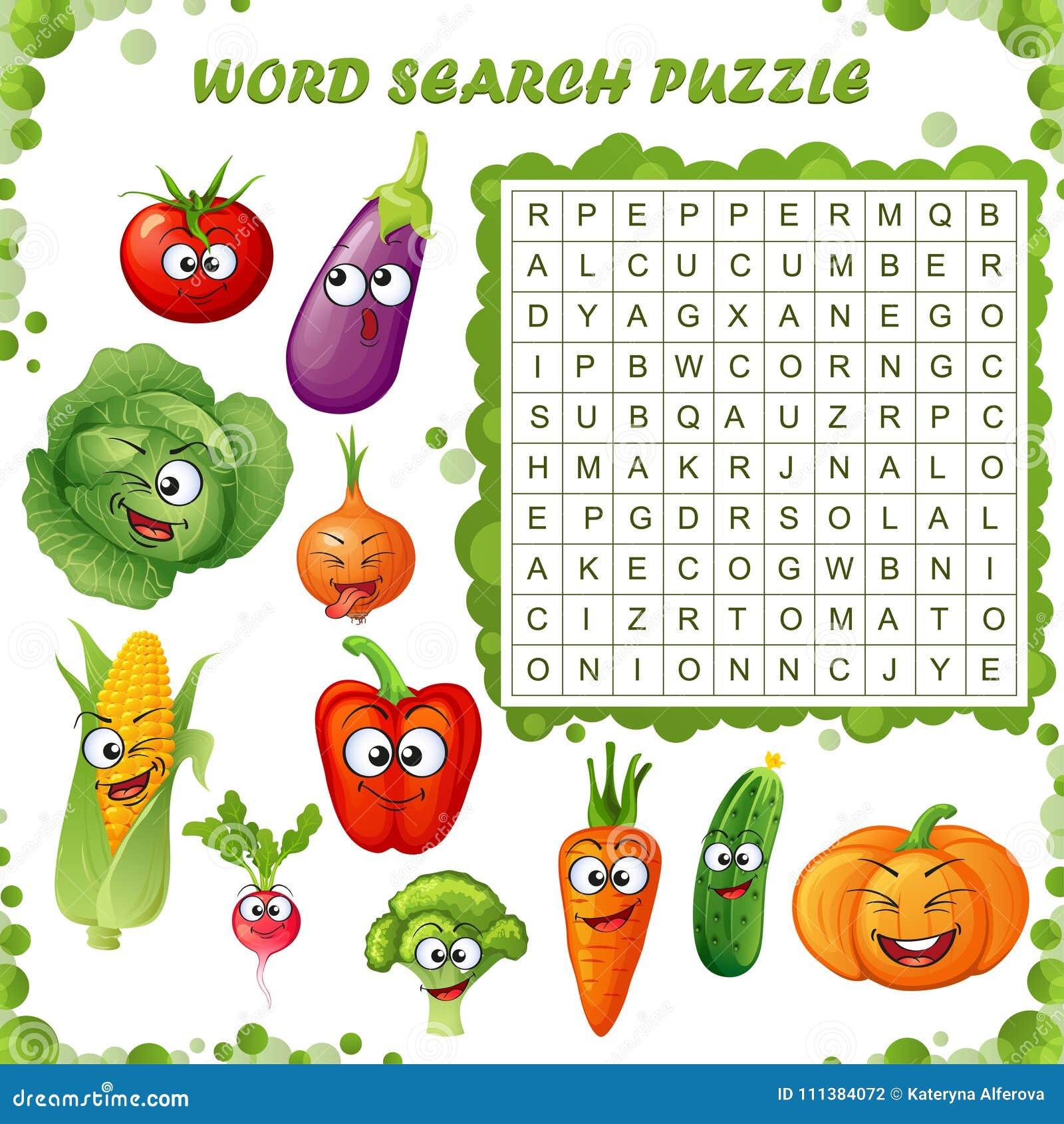 Słowo rewizi łamigłówka Wektorowa edukaci gra dla dzieci Kreskówek warzyw emoticons