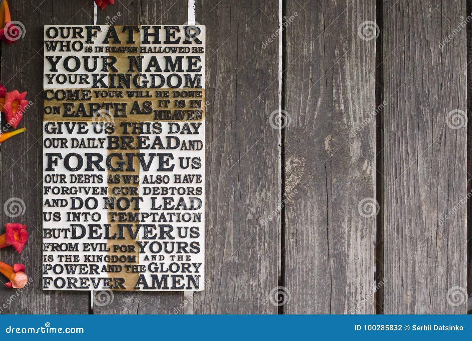 Słowo władyki ` s modlitwa na starej wietrzejącej drewnianej desce w