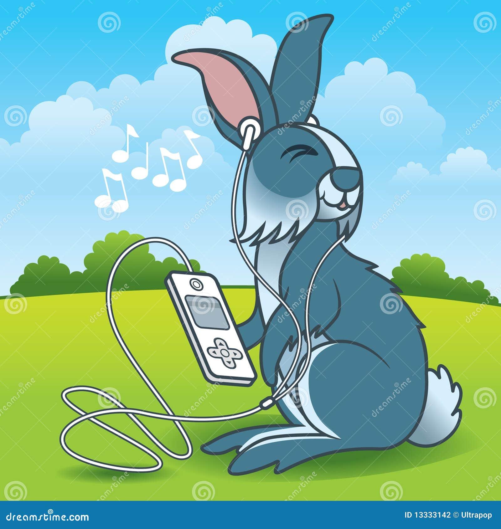 Słuchający muzyczny królik