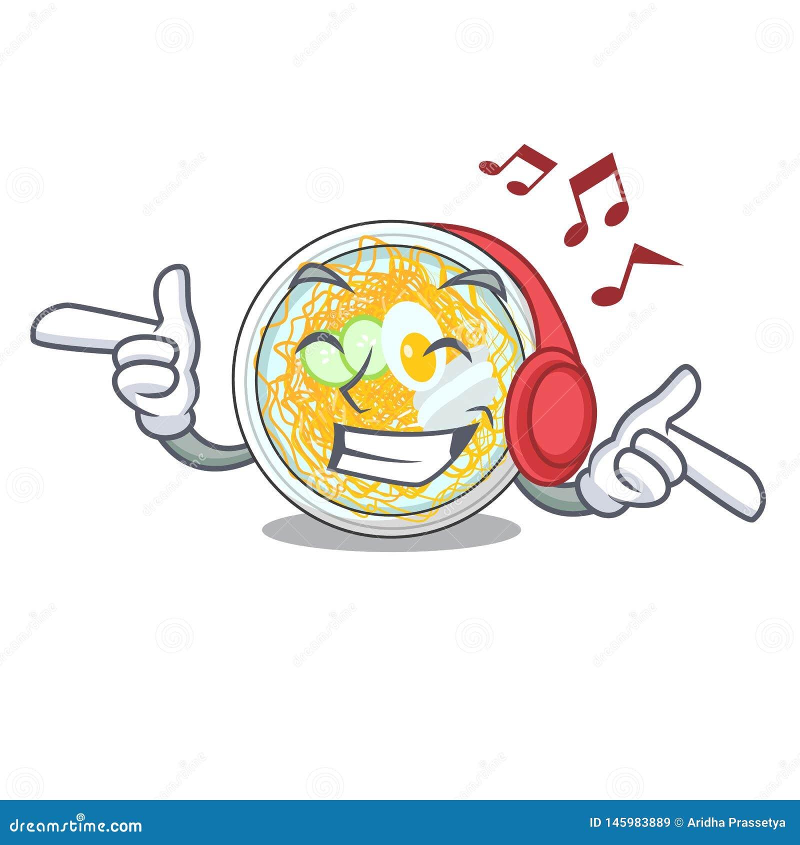 Słuchający muzyczny naengmyeon odizolowywający z charakterem w
