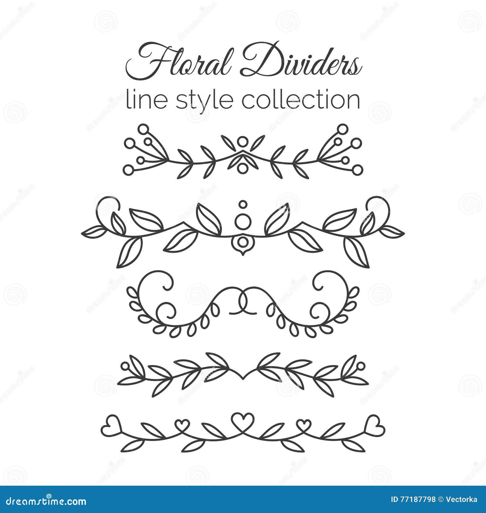 S épanouit Diviseurs tirés par la main réglés Ligne décoration de style